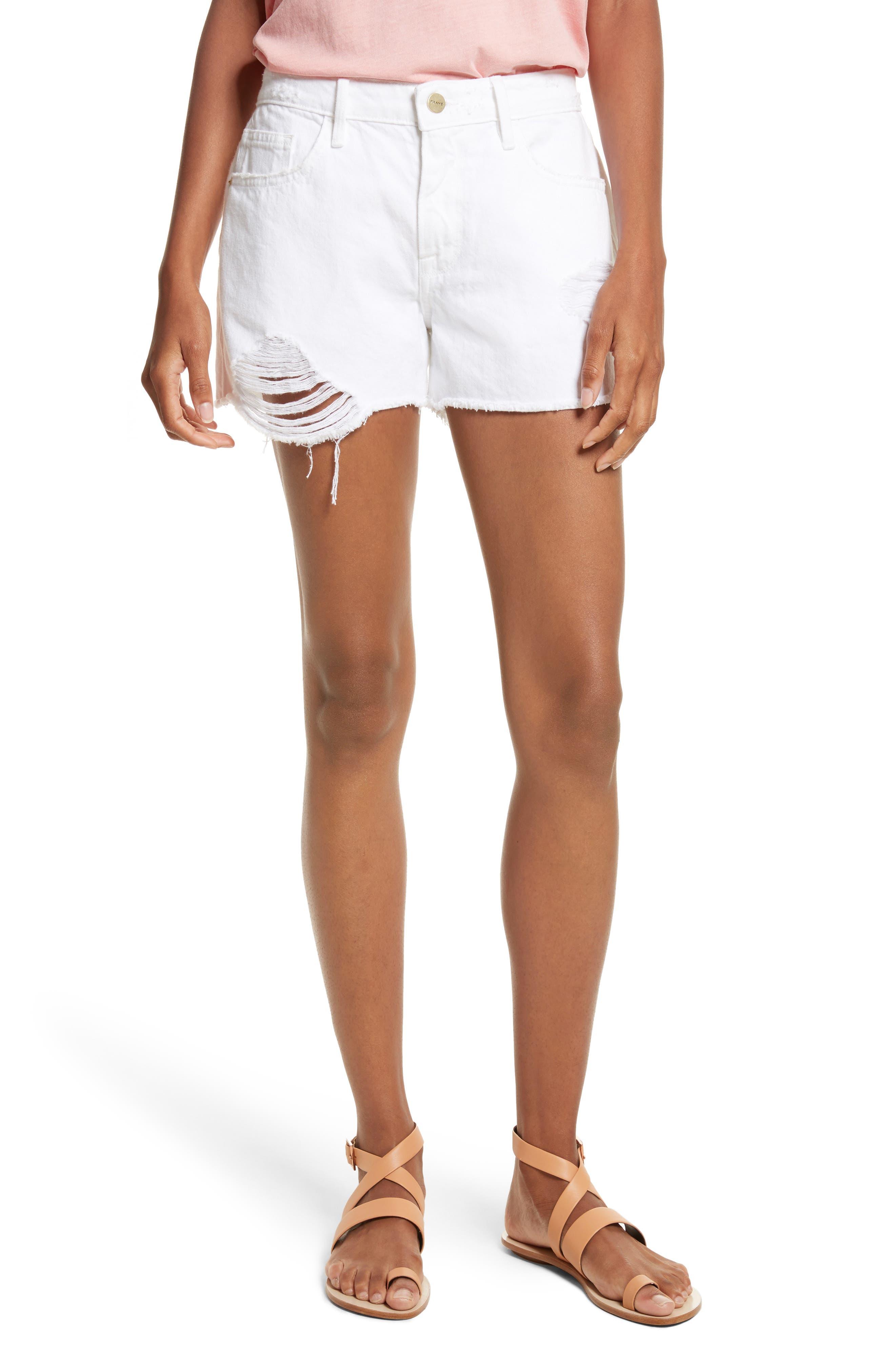 FRAME Le Grand Garçon Cutoff Denim Shorts (Blanc Albion)