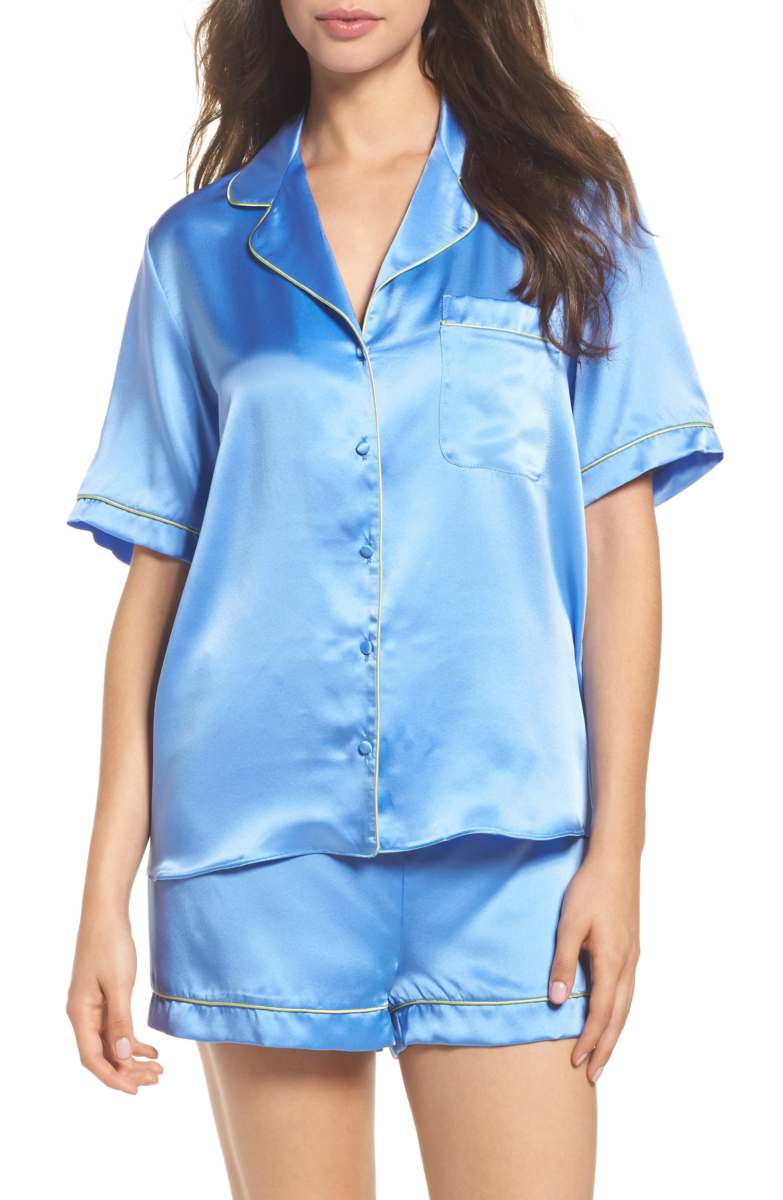 Silk Short Pajamas,                             Main thumbnail 1, color,                             Mediterranean Blue / Keylime