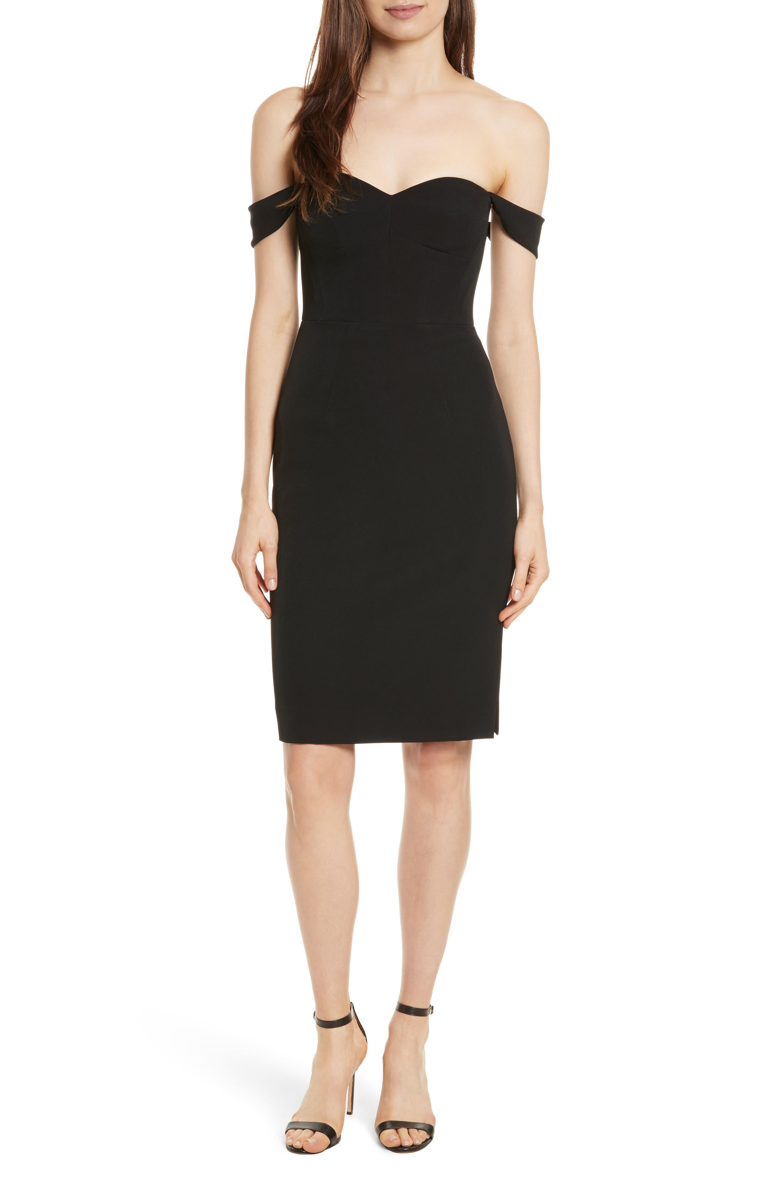 Karen Italian Cady Off the Shoulder Dress,                             Main thumbnail 1, color,                             Black