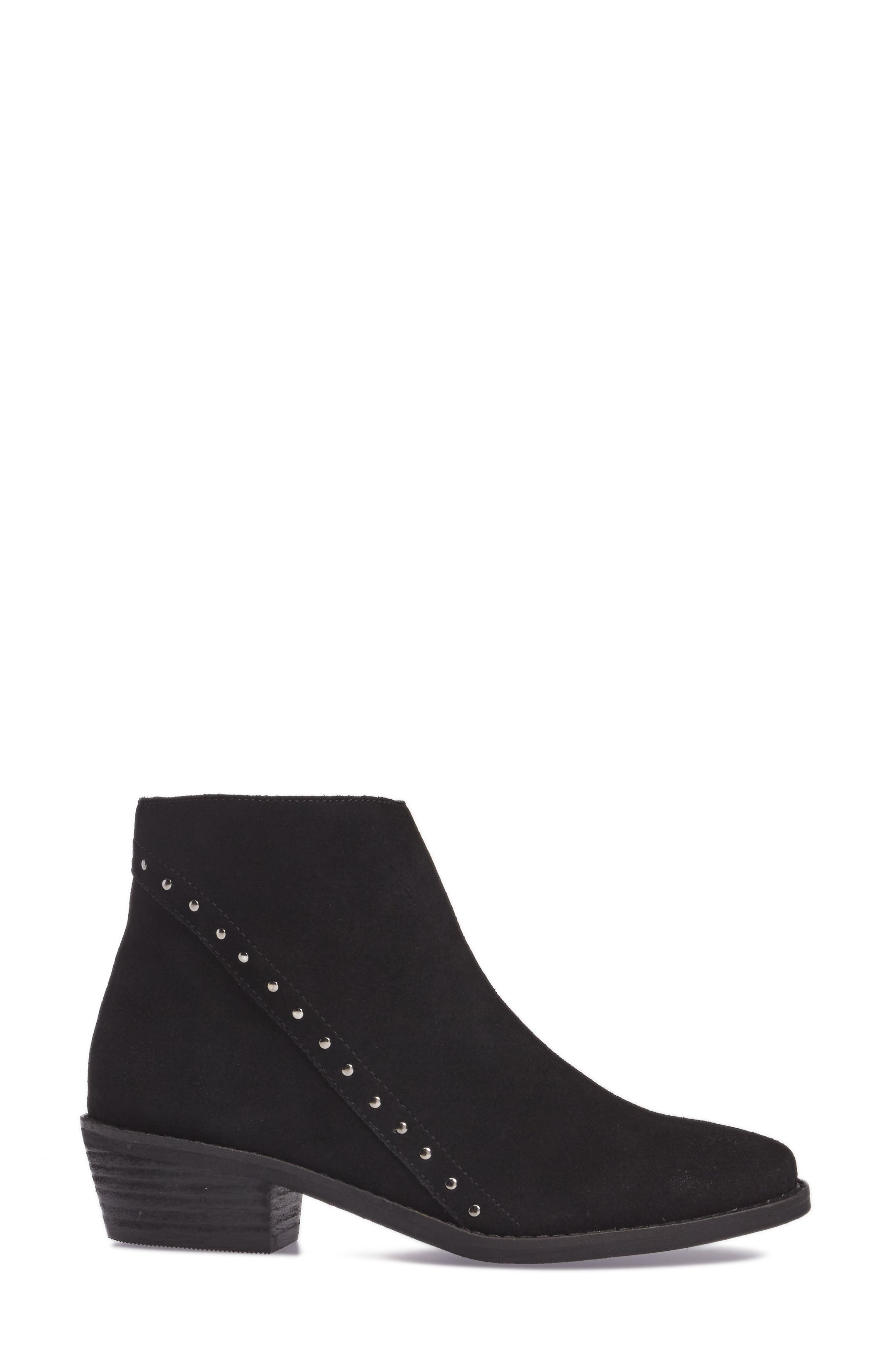 Irven Stud Bootie,                             Alternate thumbnail 3, color,                             Black Suede