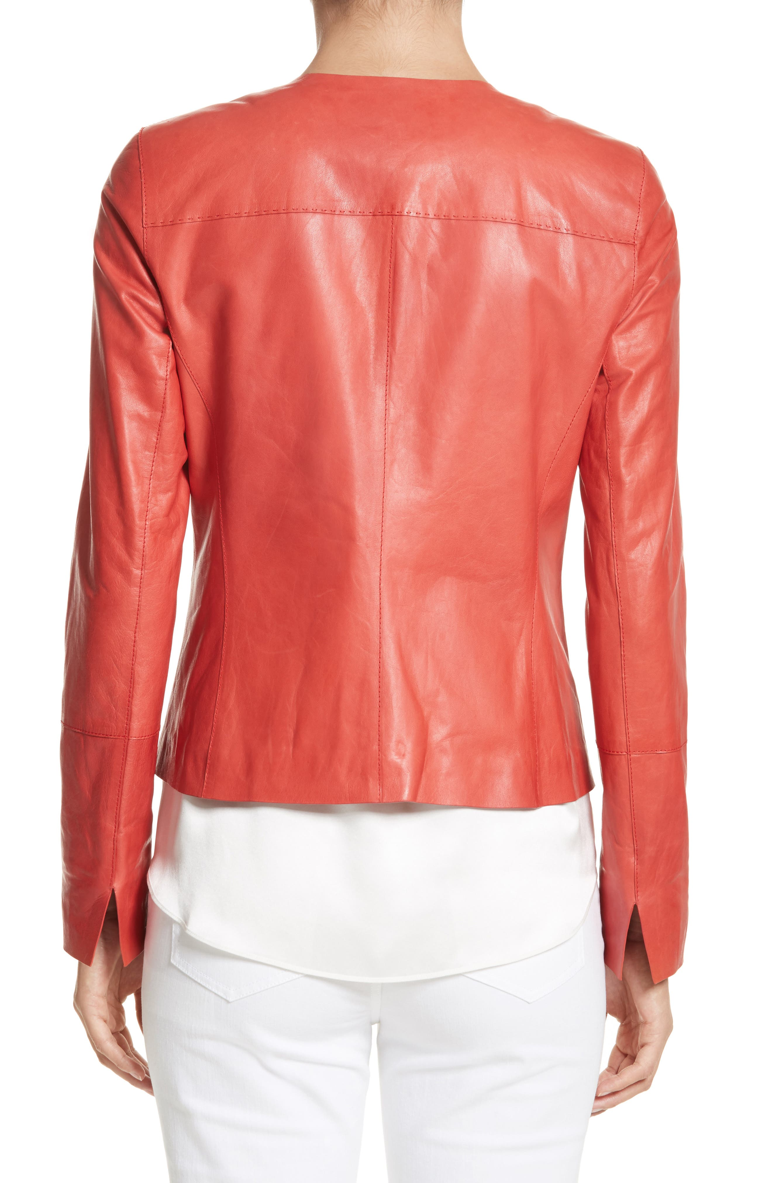 Alternate Image 2  - Lafayette 148 New York Caridee Glazed Lambskin Leather Jacket