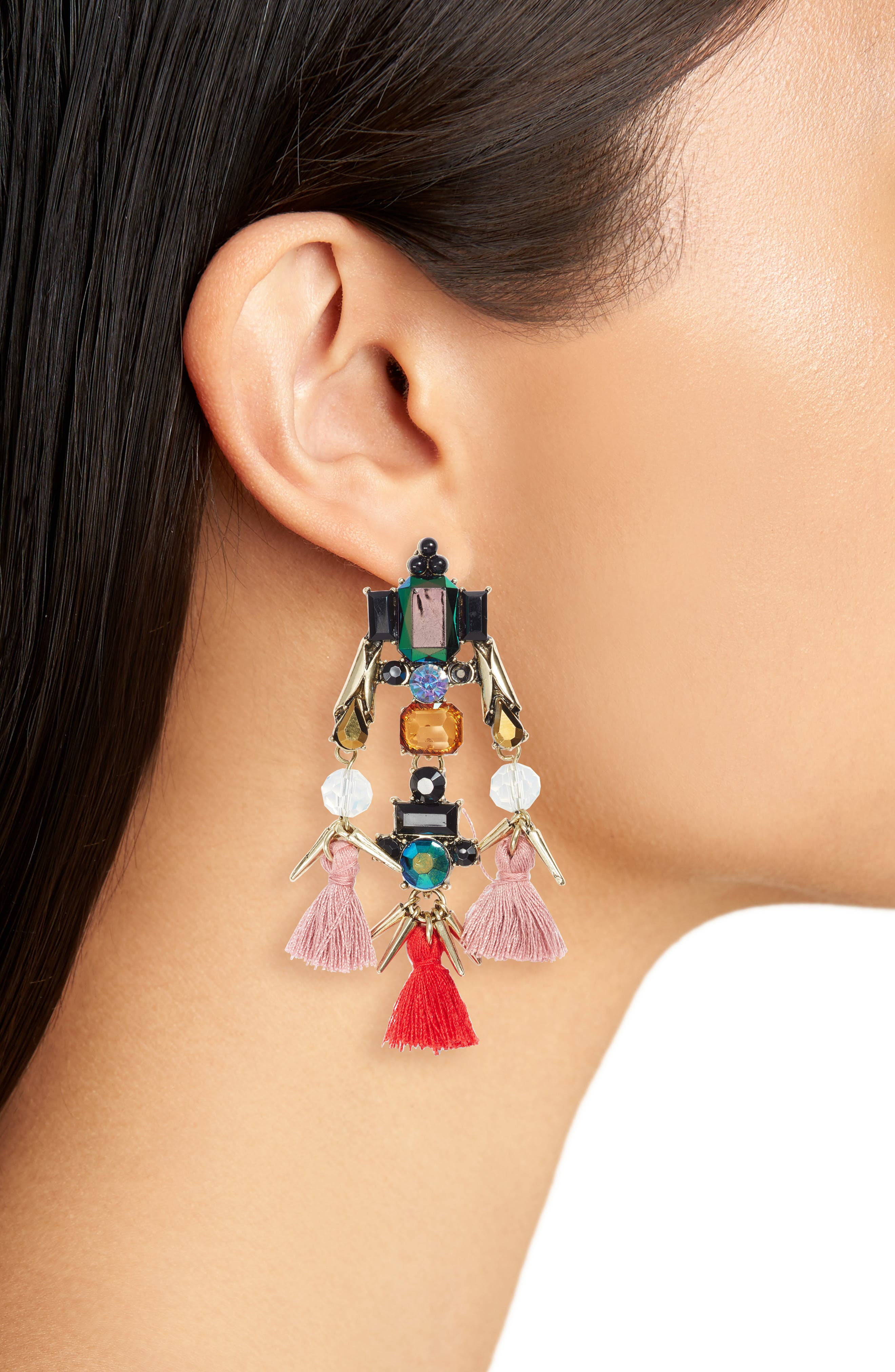 Alternate Image 2  - Sole Society Tassel & Crystal Chandelier Earrings