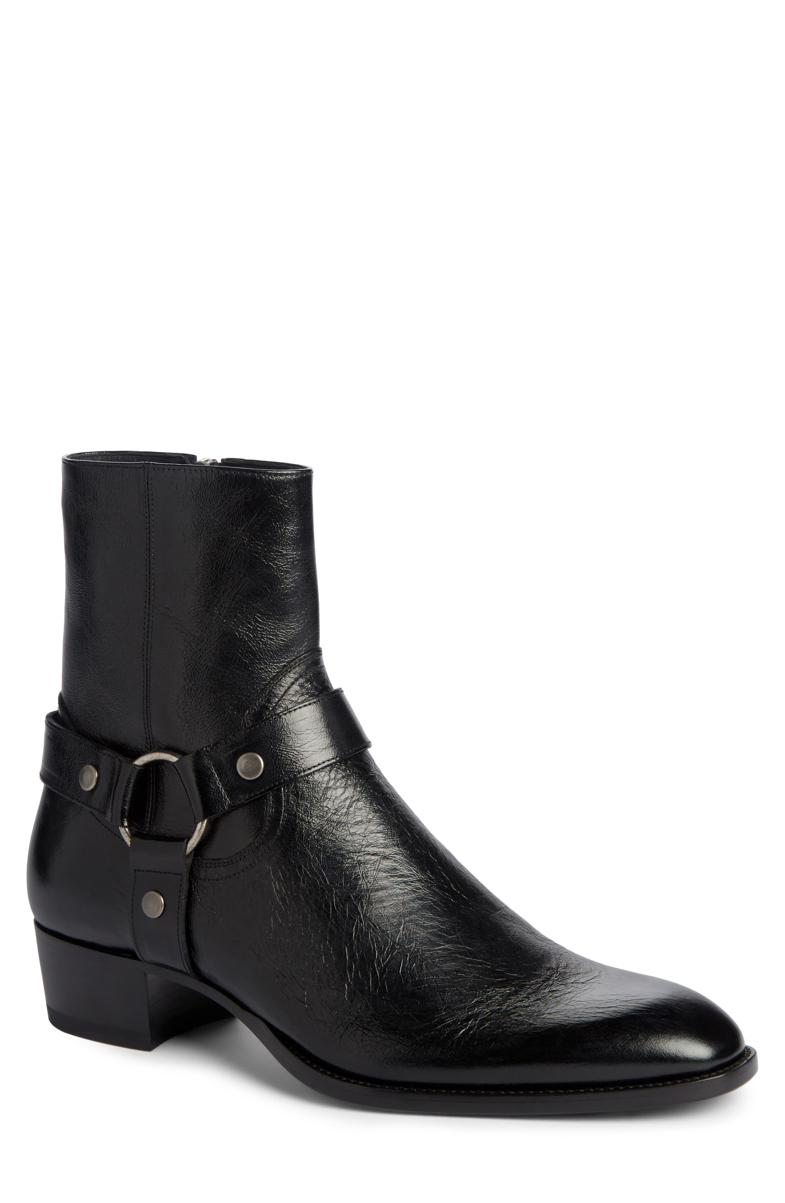 Wyatt Harness Boot,                             Main thumbnail 1, color,                             Black Leather