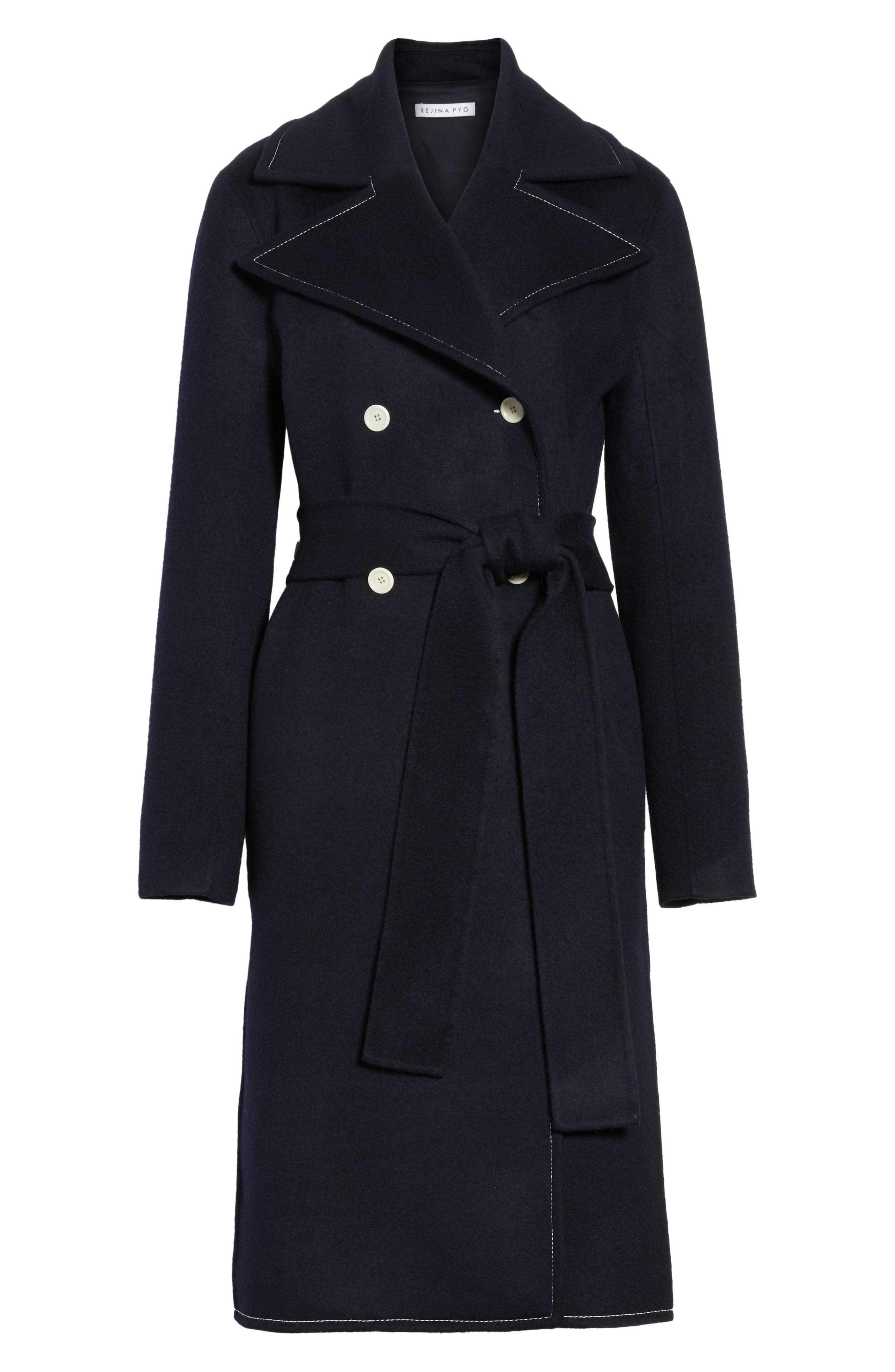 Double Breasted Wool Blend Coat,                             Alternate thumbnail 7, color,                             Wool Navy