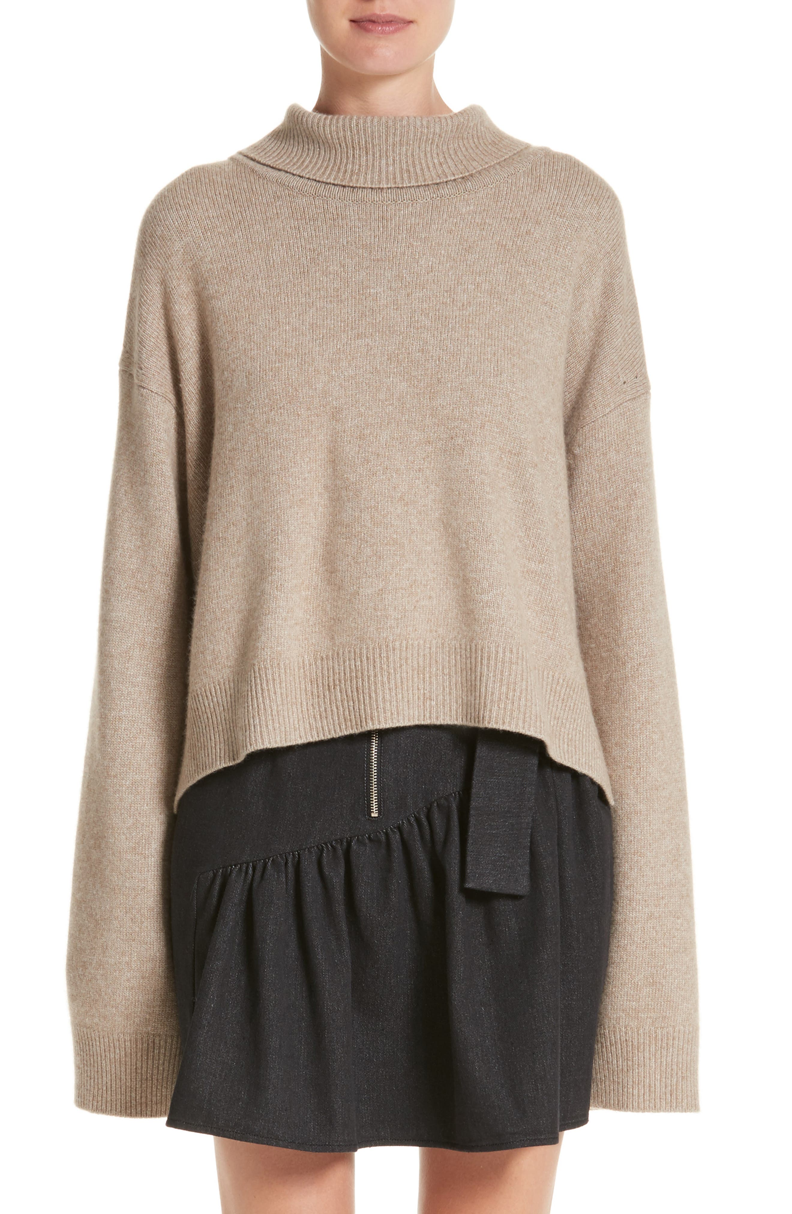 Oversized Tie Back Sweater,                             Main thumbnail 1, color,                             Knit Beige