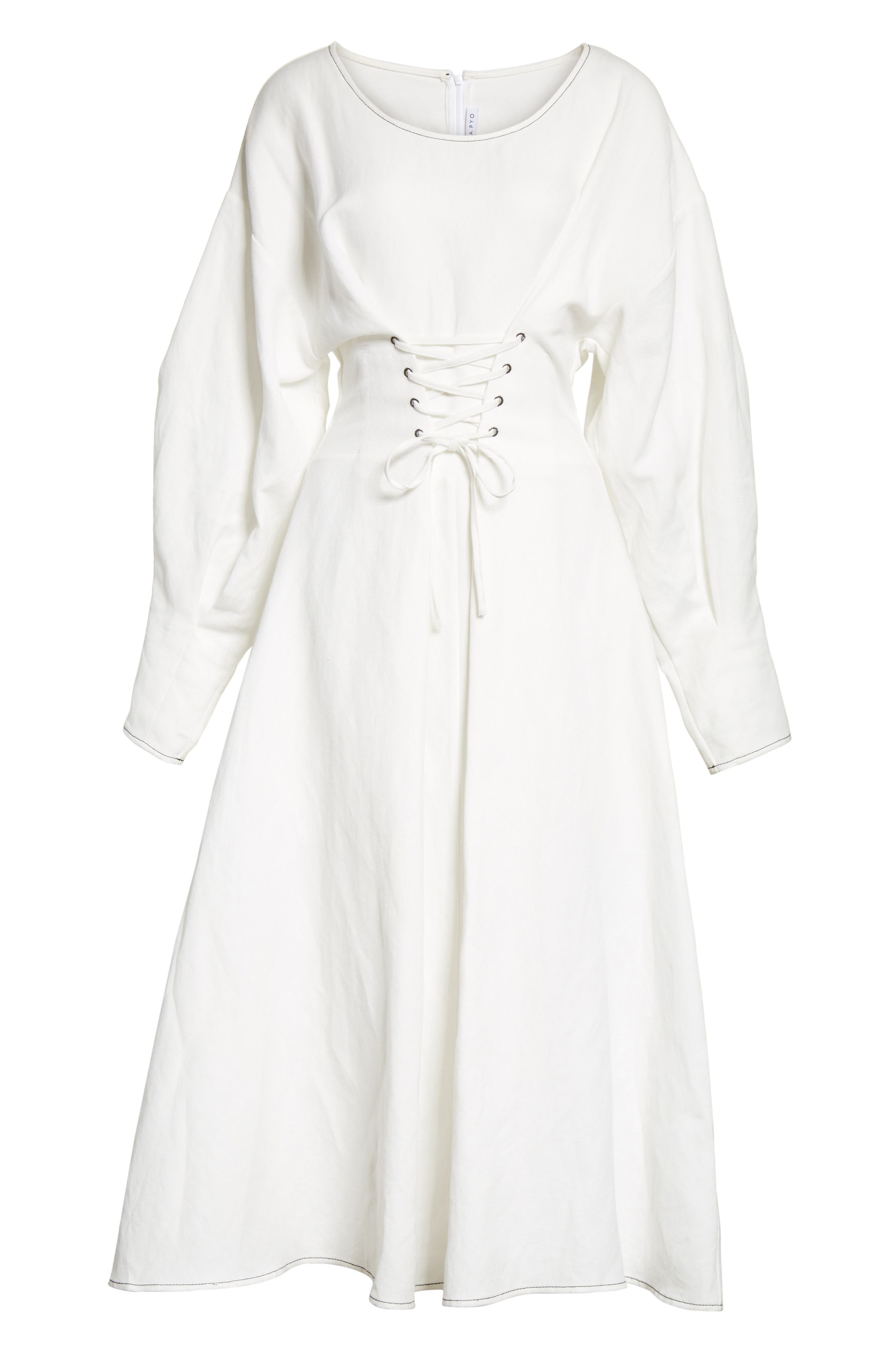 Corset Laced Linen Blend Dress,                             Alternate thumbnail 6, color,                             Linen Off-White