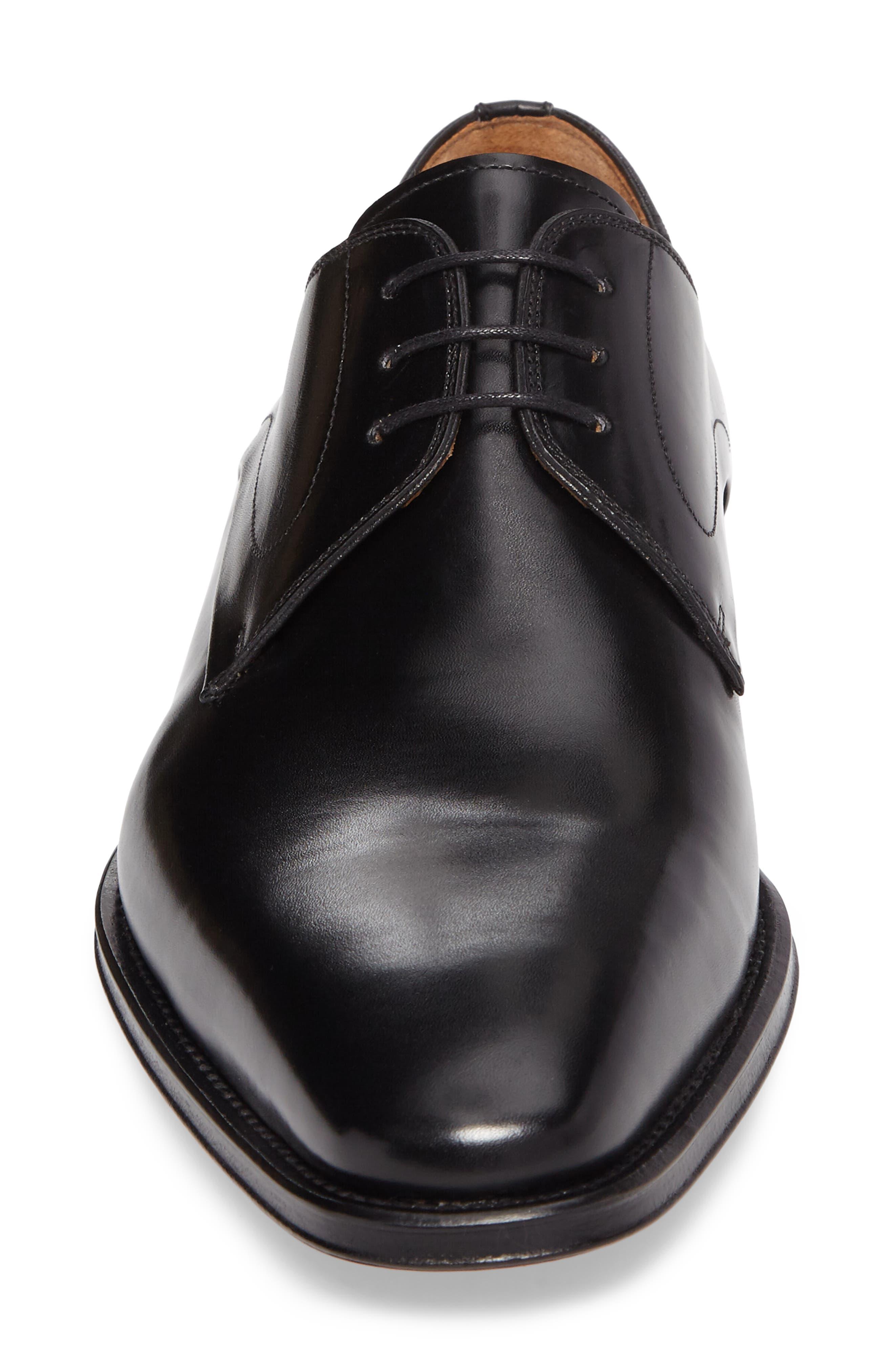Mario Plain Toe Derby,                             Alternate thumbnail 4, color,                             Black Leather