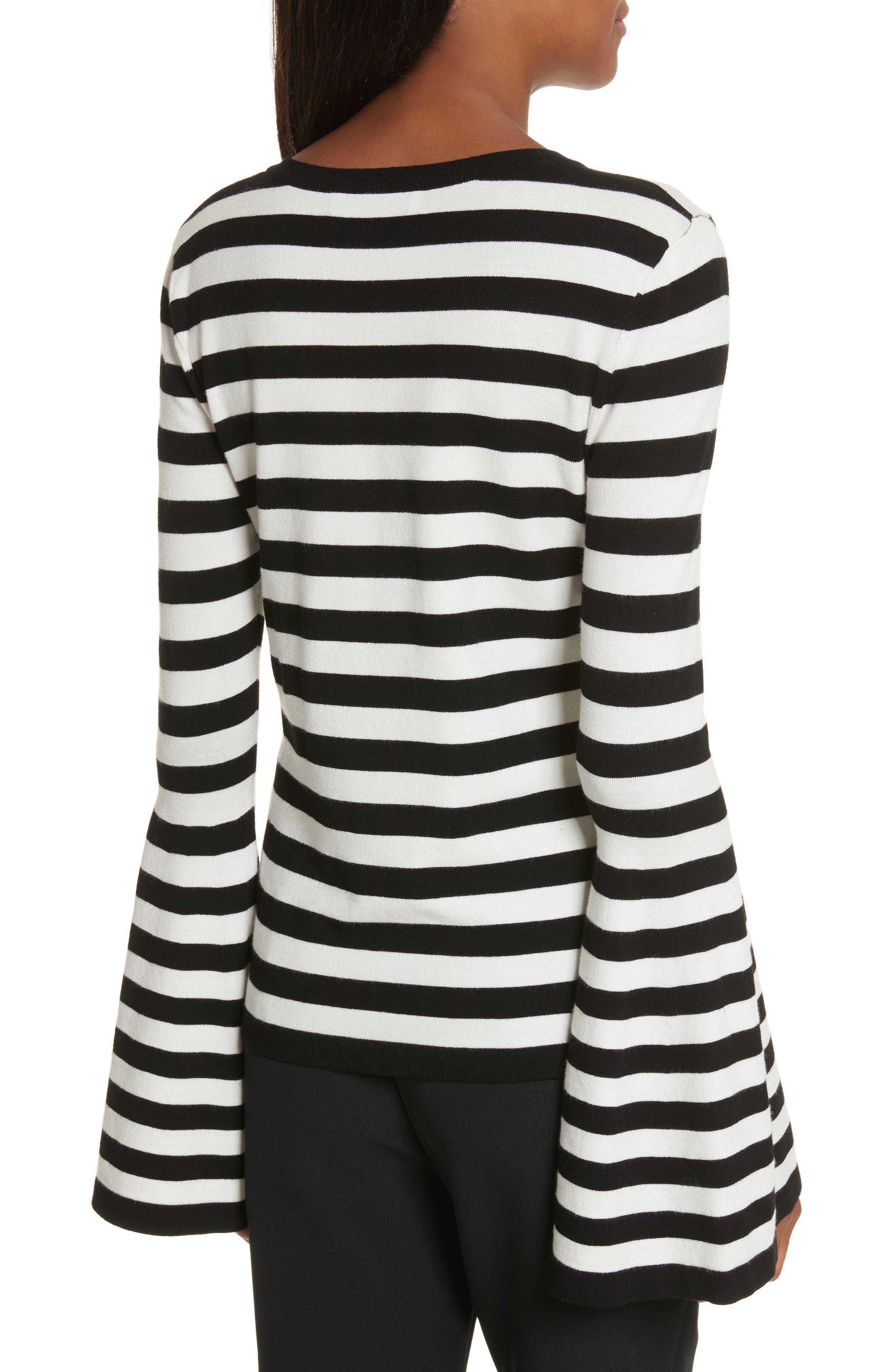 Bell Sleeve V-Neck Sweater,                             Alternate thumbnail 3, color,                             Black/ White