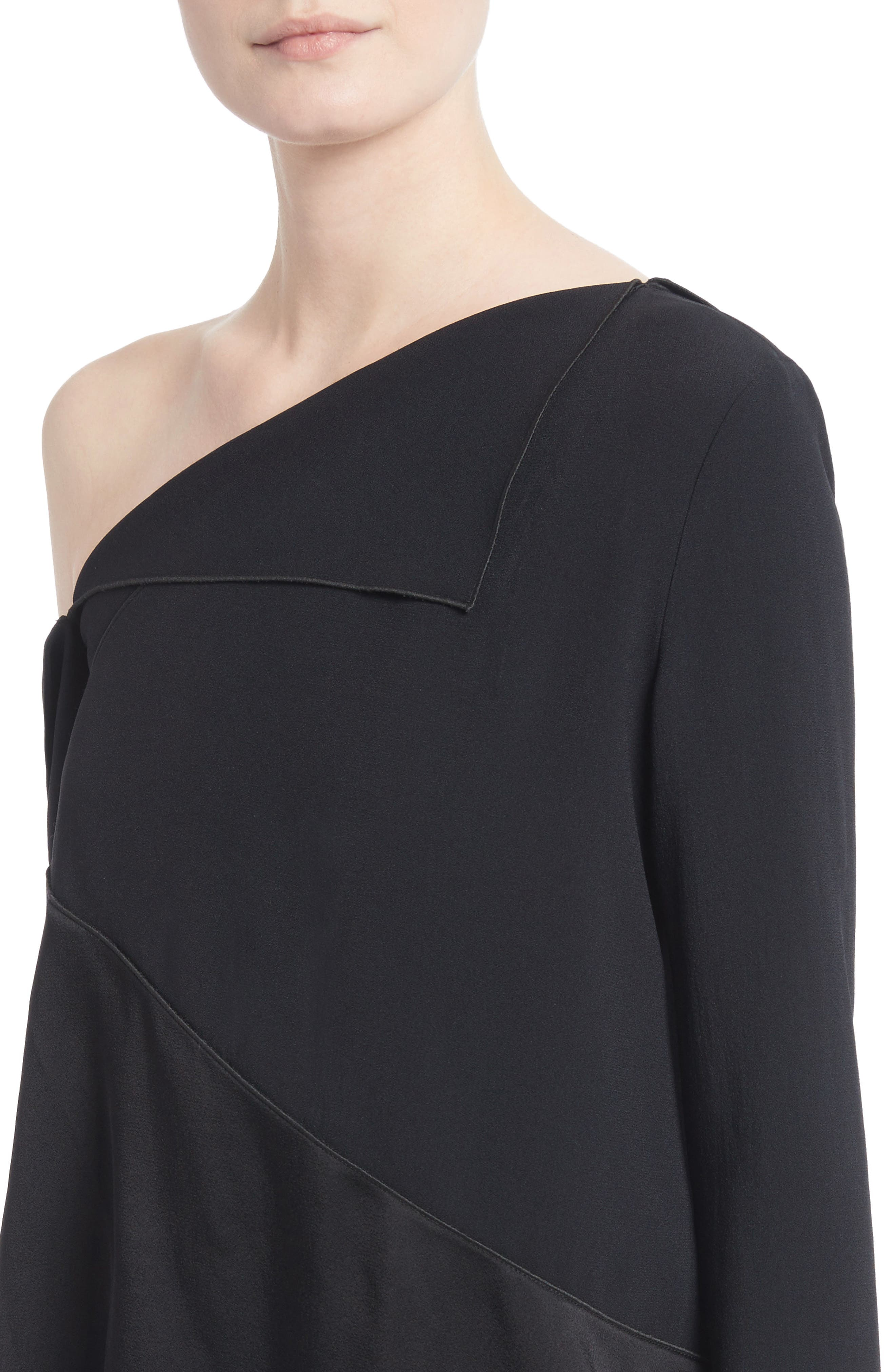 Single Shoulder Satin Back Crepe Blouse,                             Alternate thumbnail 4, color,                             Black