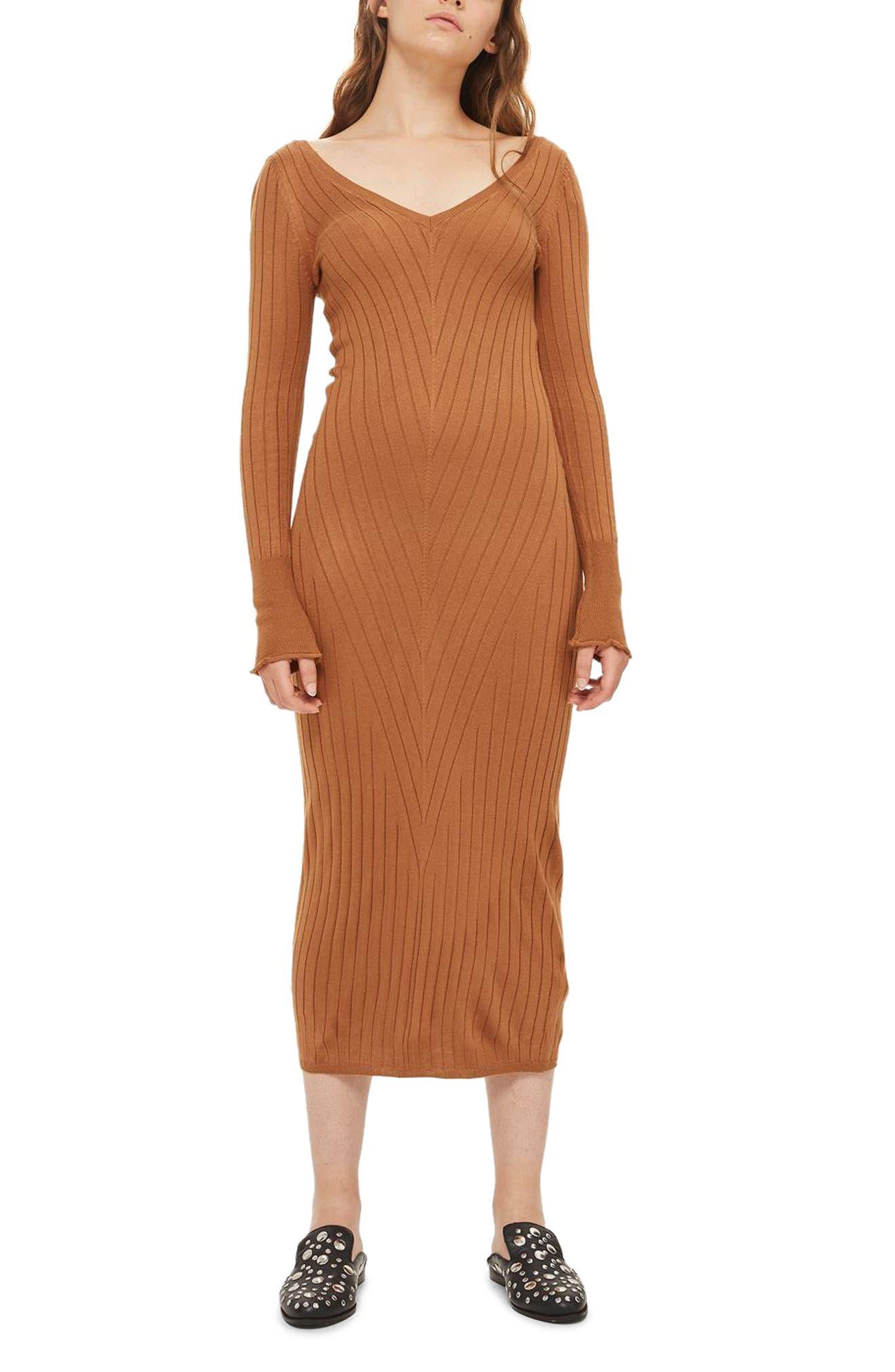 Double V-Neck Ribbed Midi Dress,                         Main,                         color, Camel