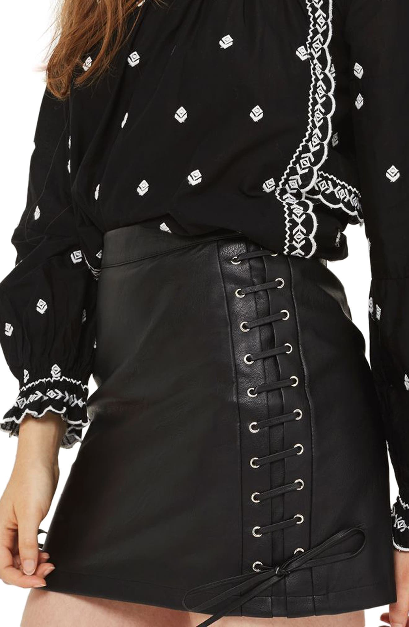 Topshop Lace-Up Faux Leather Miniskirt