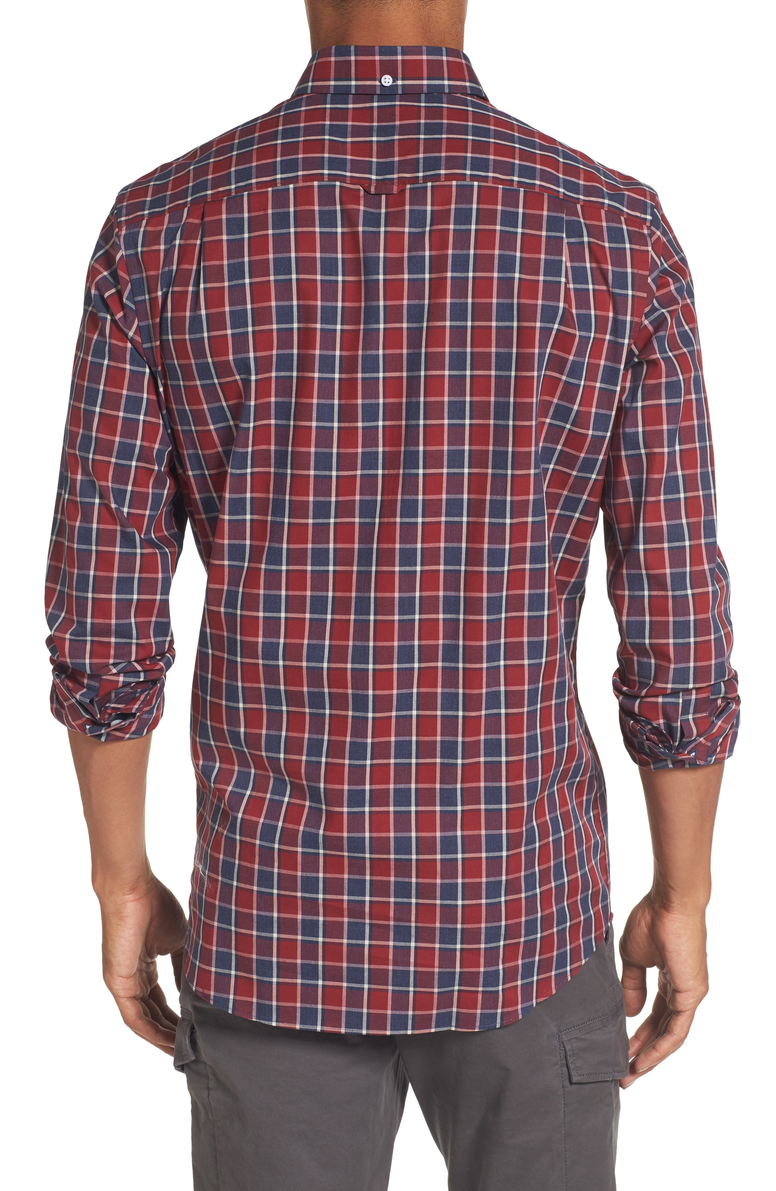 Non-Iron Check Sport Shirt,                             Alternate thumbnail 2, color,                             Red Ruby Heathered Check