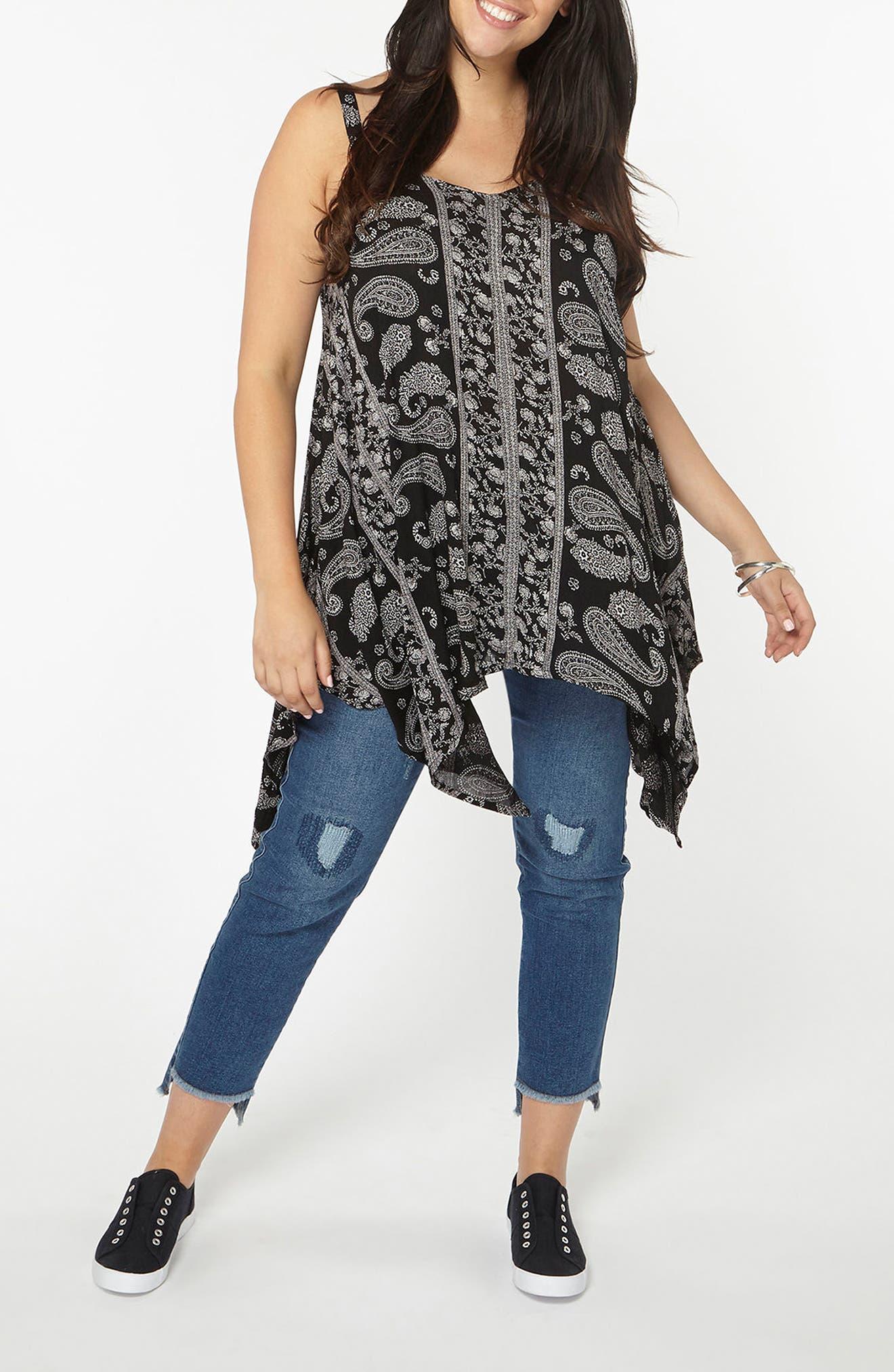 Alternate Image 4  - Evans Floral Paisley Handkerchief Hem Camisole (Plus Size)