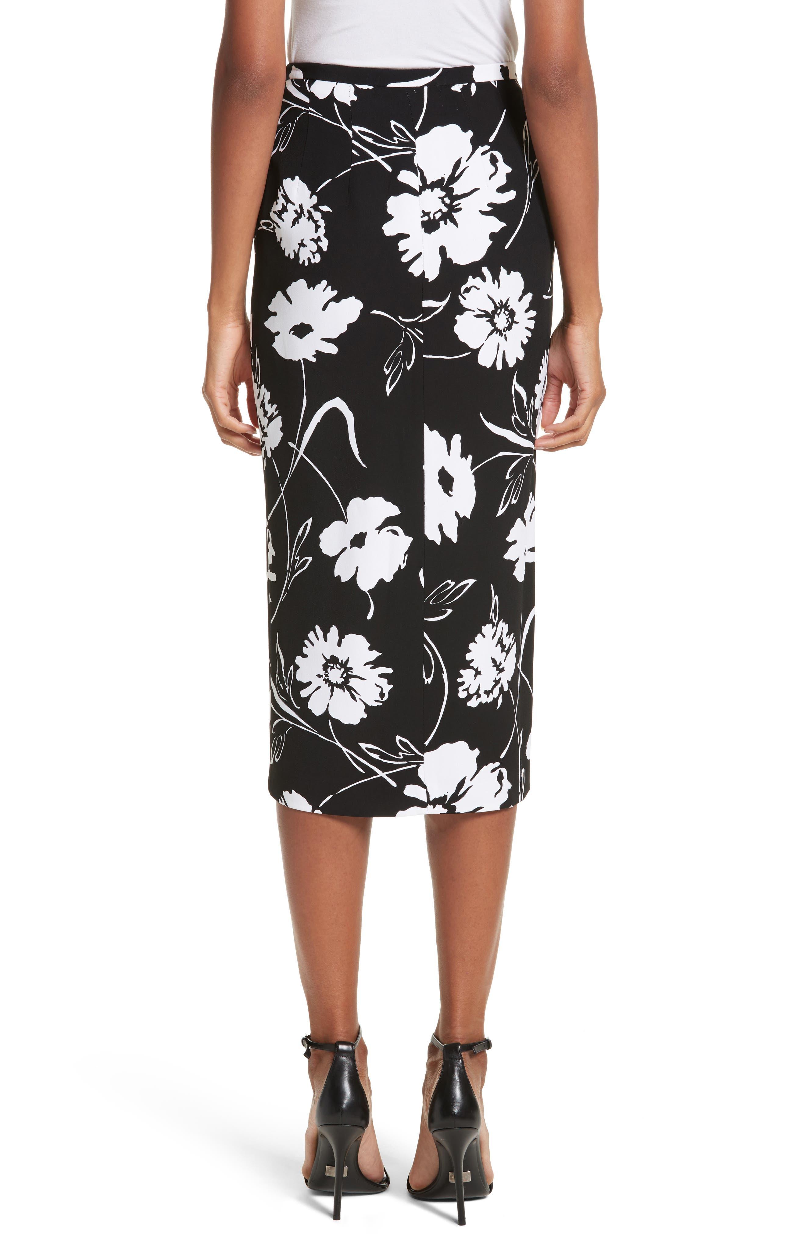 Floral Print Pencil Skirt,                             Alternate thumbnail 2, color,                             Black / White