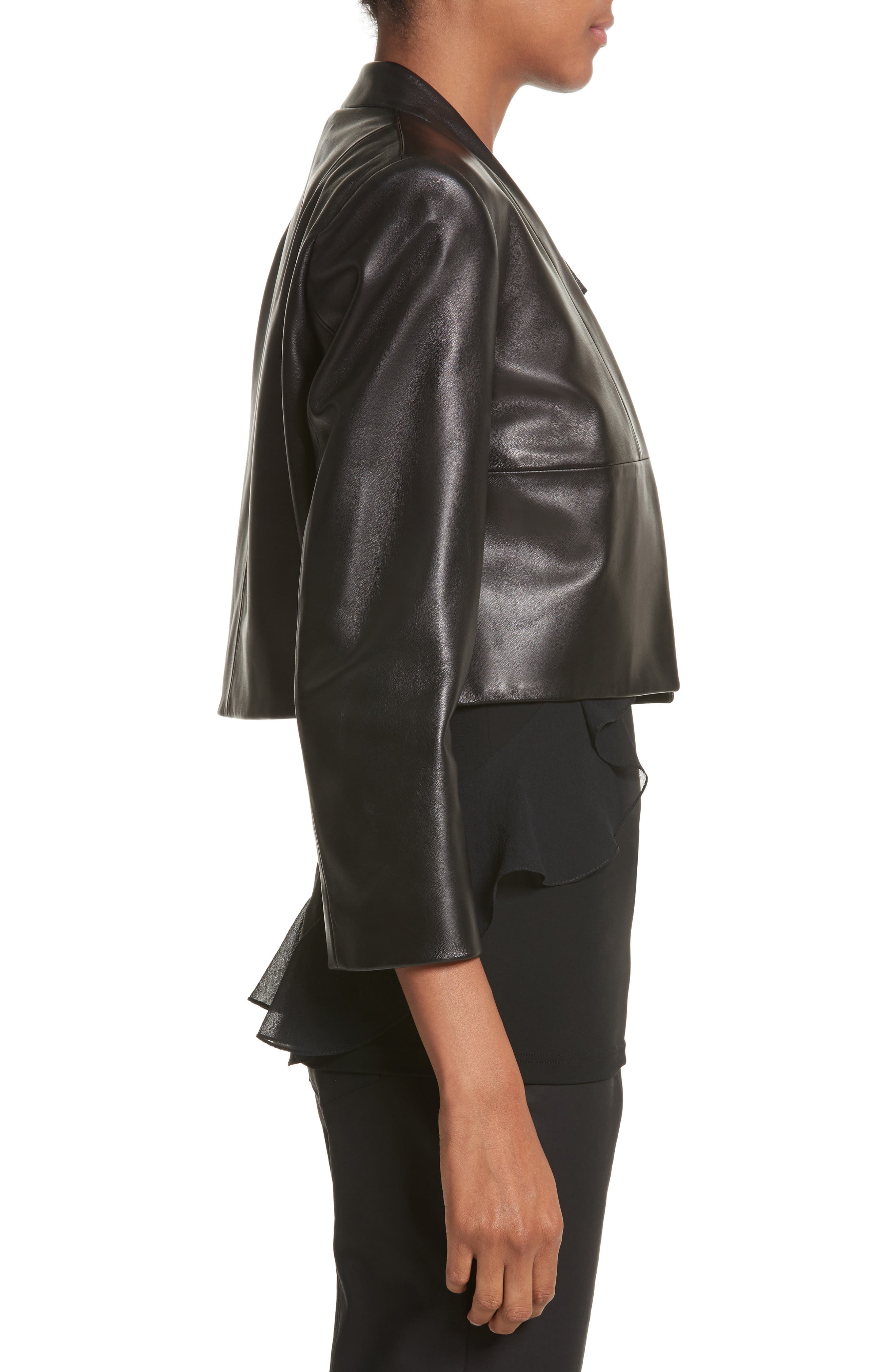 Plongé Leather Bolero Jacket,                             Alternate thumbnail 3, color,                             Black