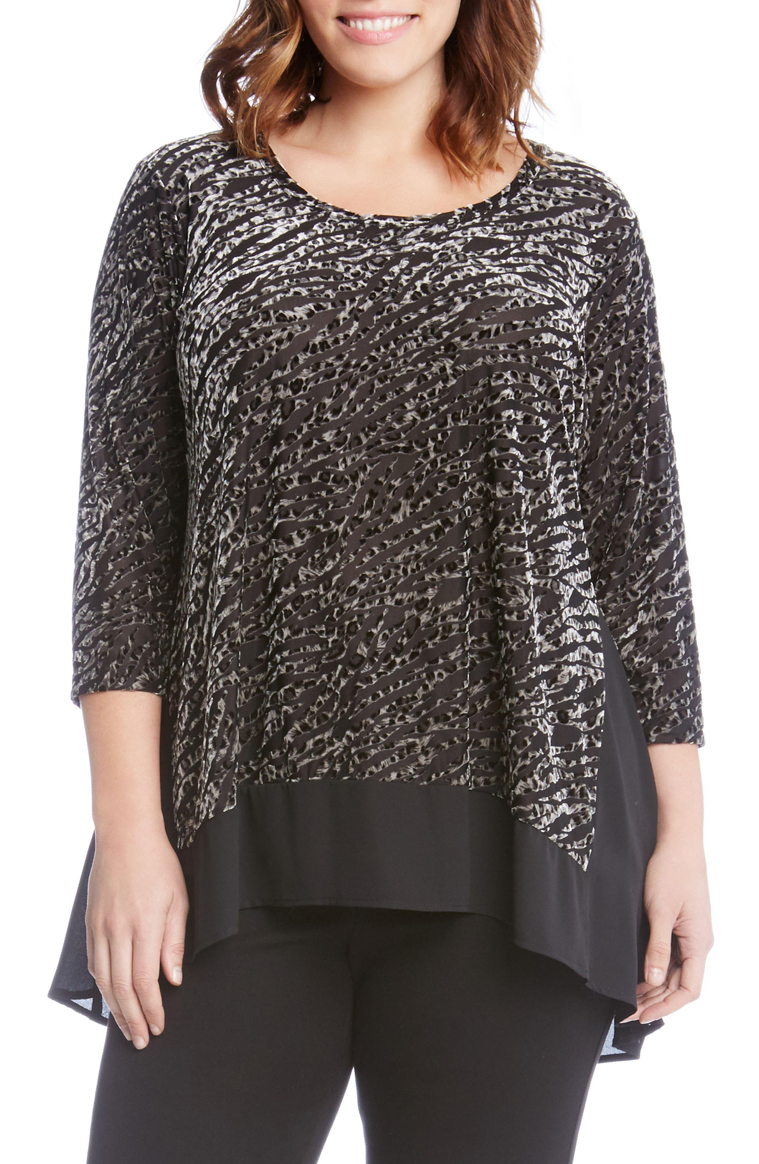 Karen Kane Velvet Bunout Contrast Top (Plus Size)
