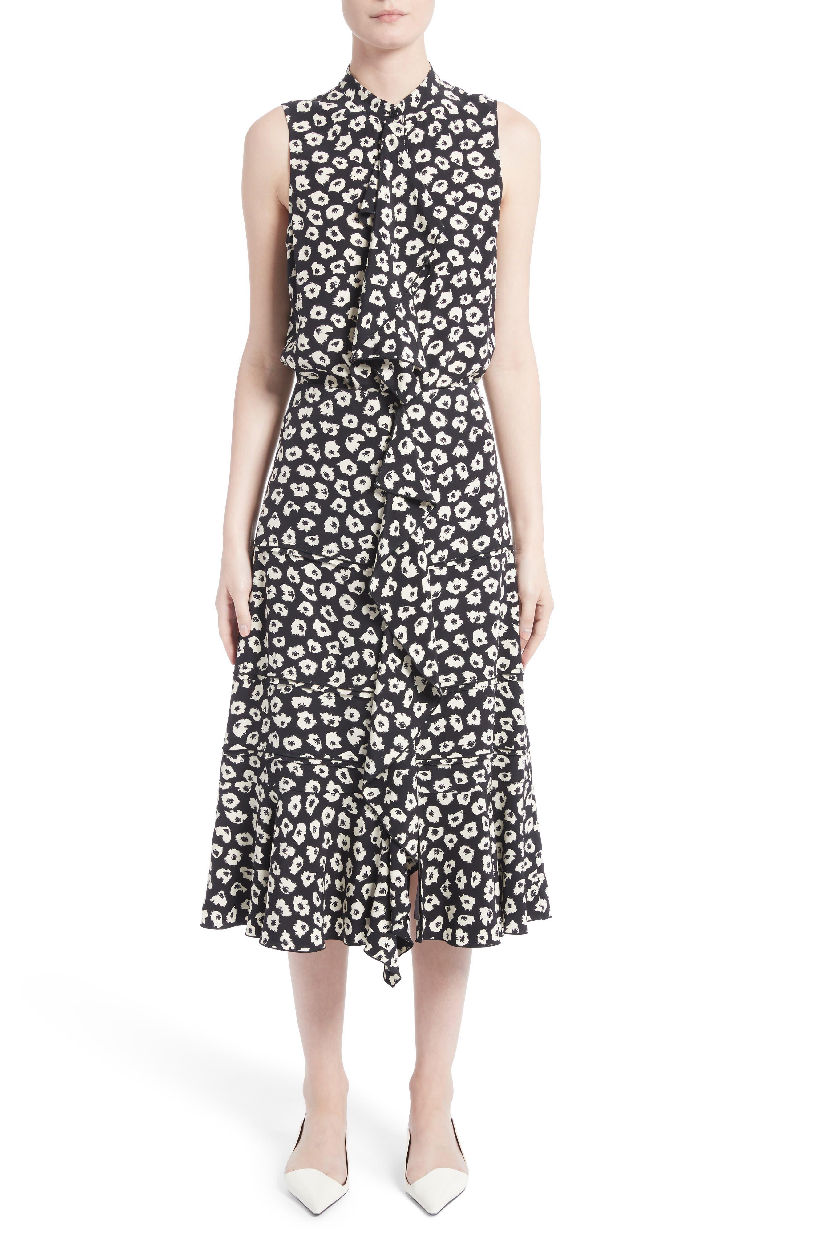Ruffle Print Silk Midi Skirt,                             Alternate thumbnail 6, color,                             Black/ Off White Jasmine