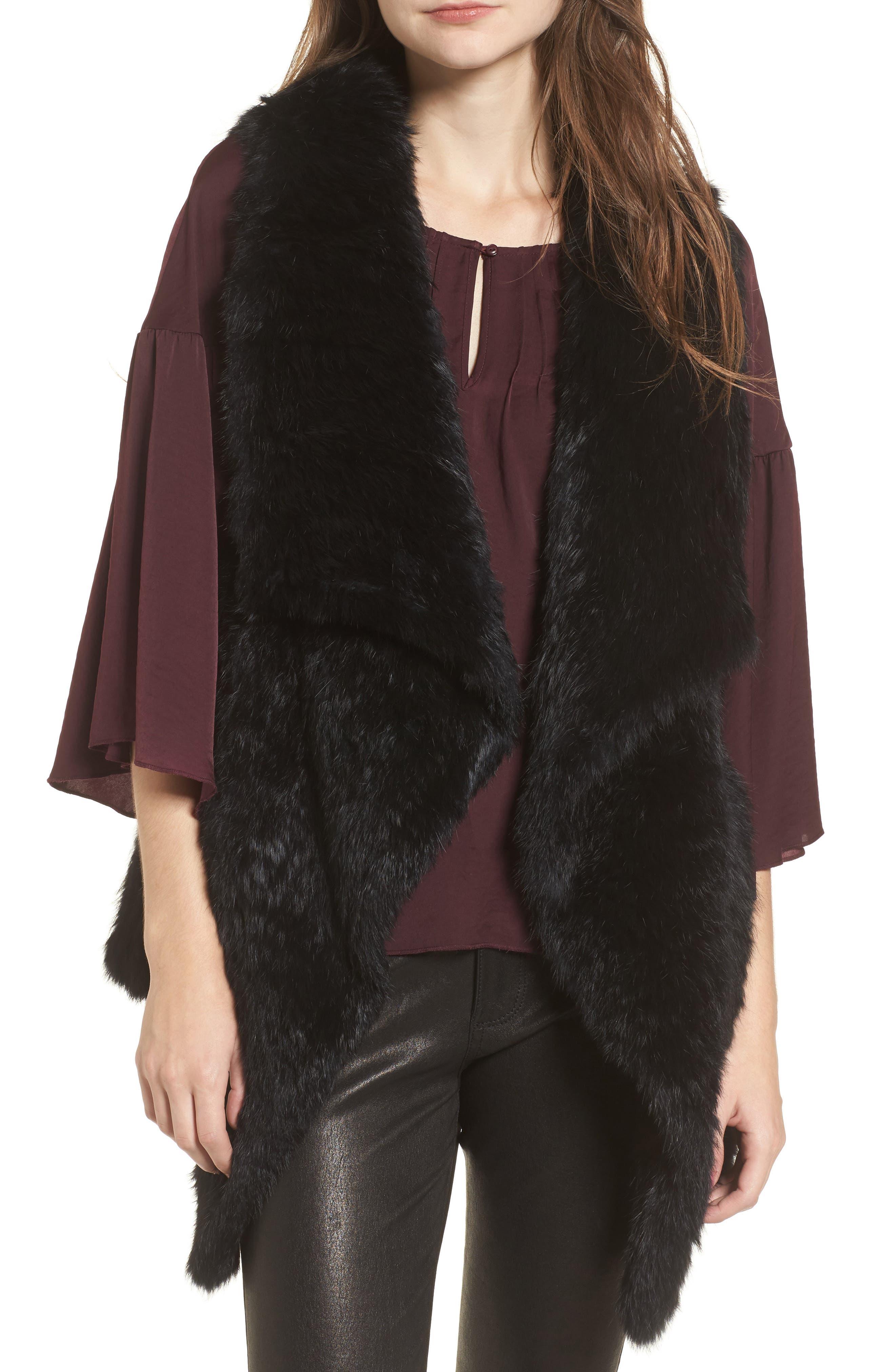 Long Drape Genuine Rabbit Fur Vest,                         Main,                         color, Black