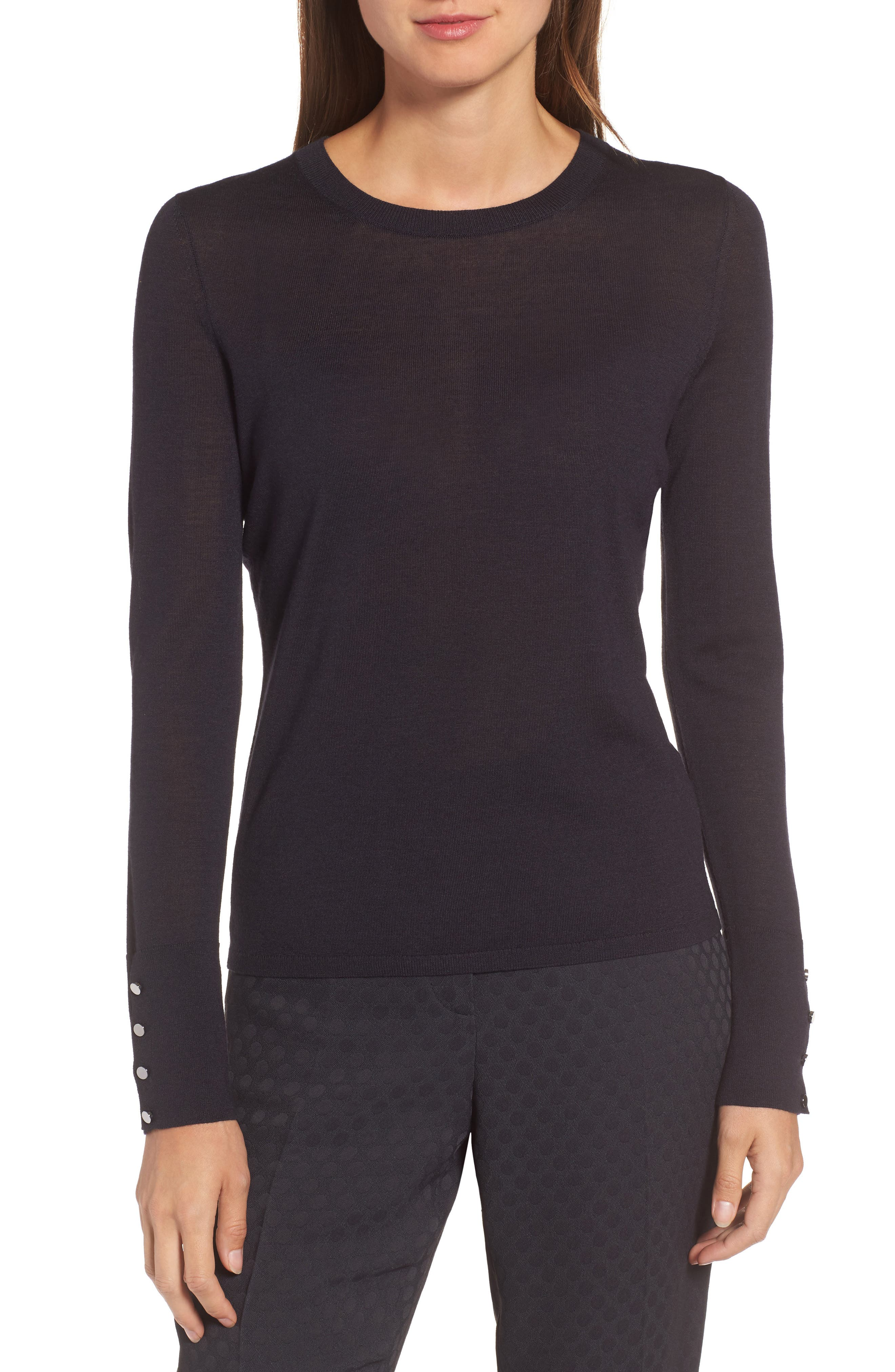 Main Image - BOSS Frankie Cuff Detail Wool Sweater (Nordstrom Exclusive)