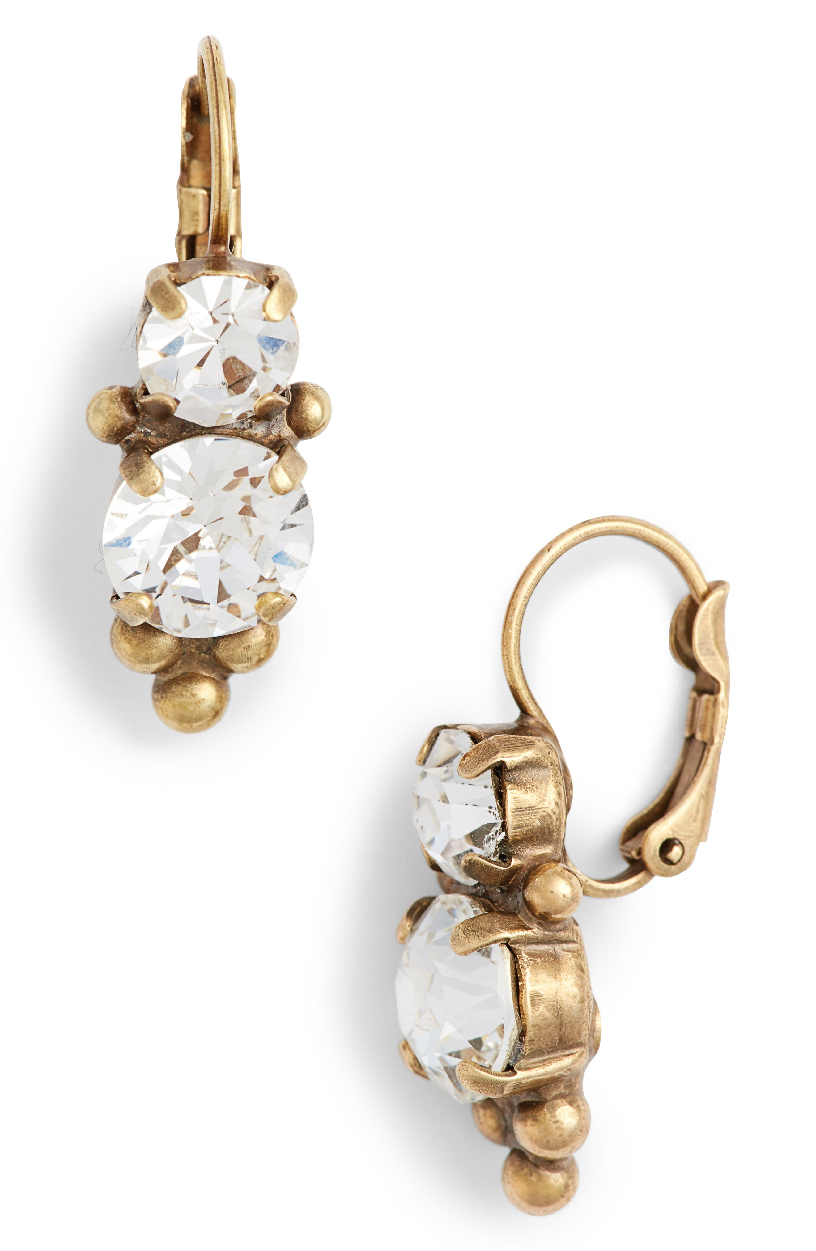 Jewelry Ornate Crystal Drop Earrings,                         Main,                         color, Clear