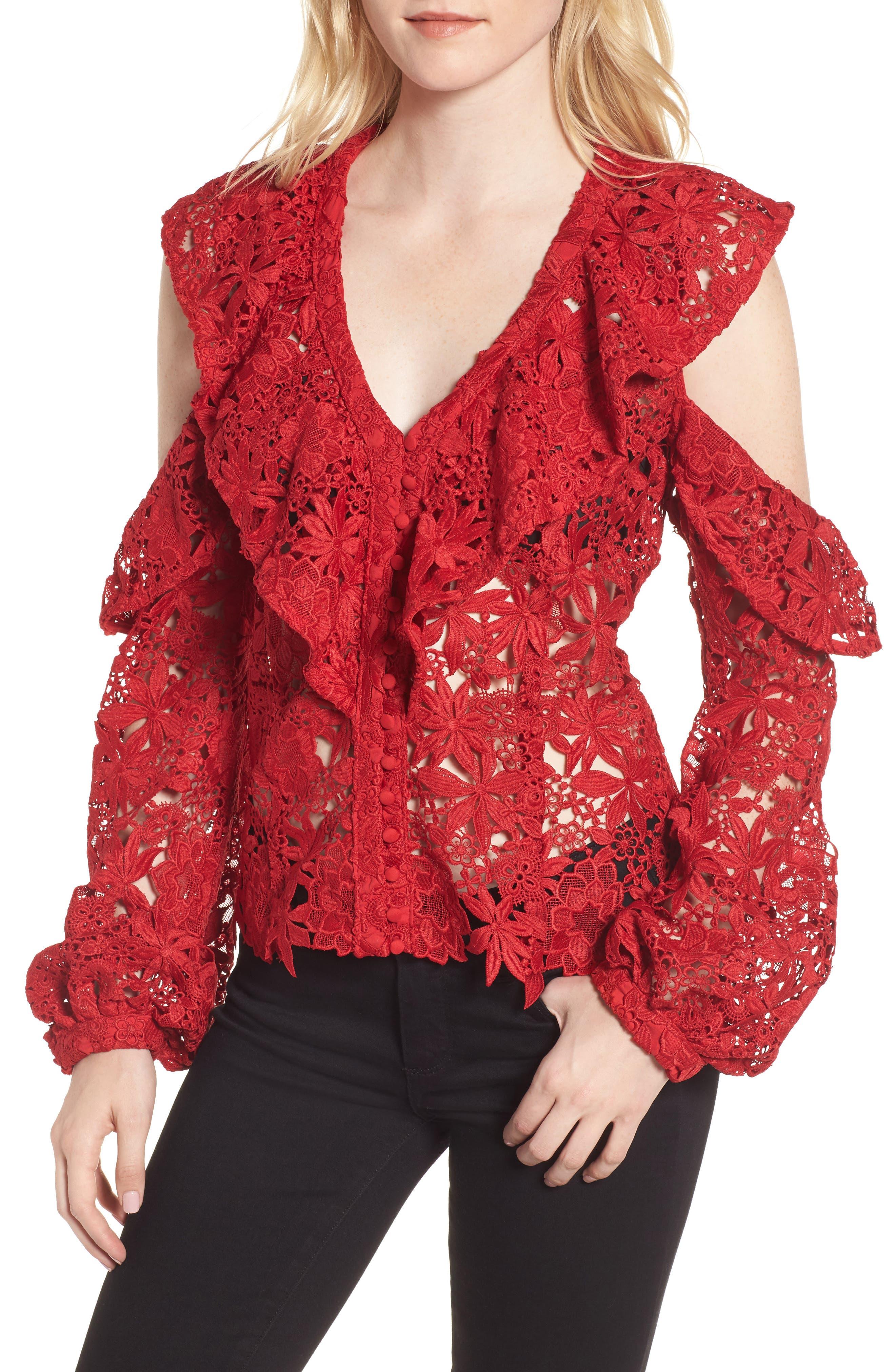 Bardot Valentina Cold Shoulder Lace Blouse