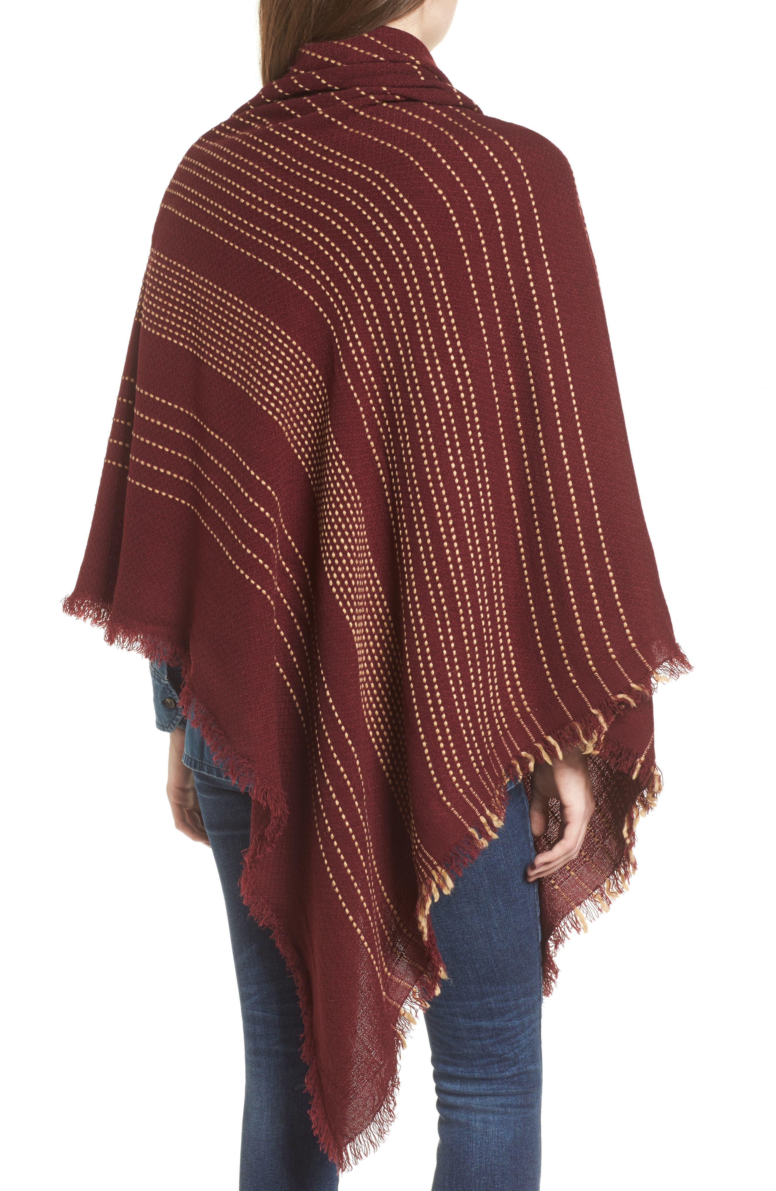 Textured Stripe Blanket Scarf,                             Alternate thumbnail 2, color,                             Wine