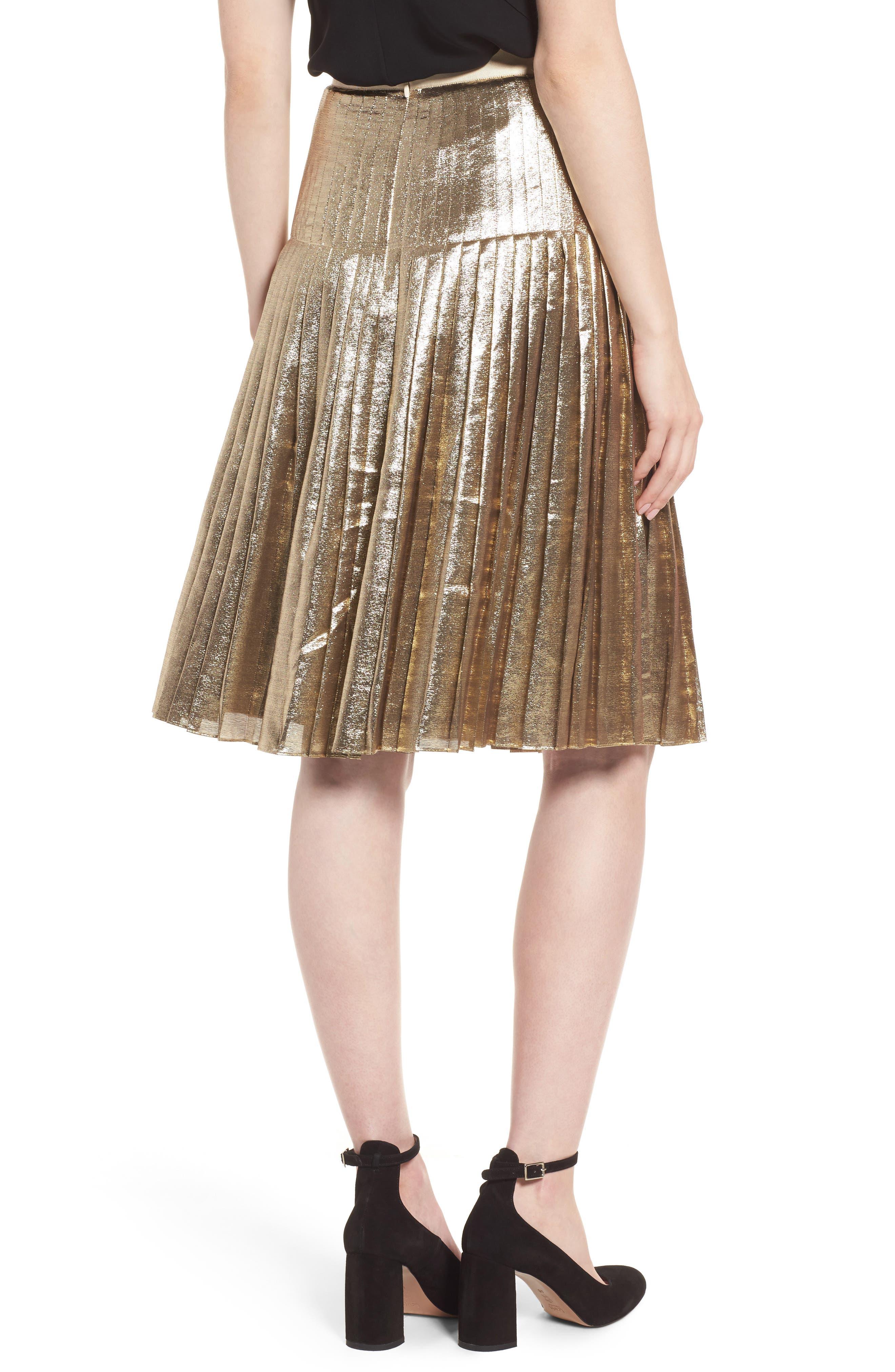 Alternate Image 2  - Lewit Pleated Metallic Skirt