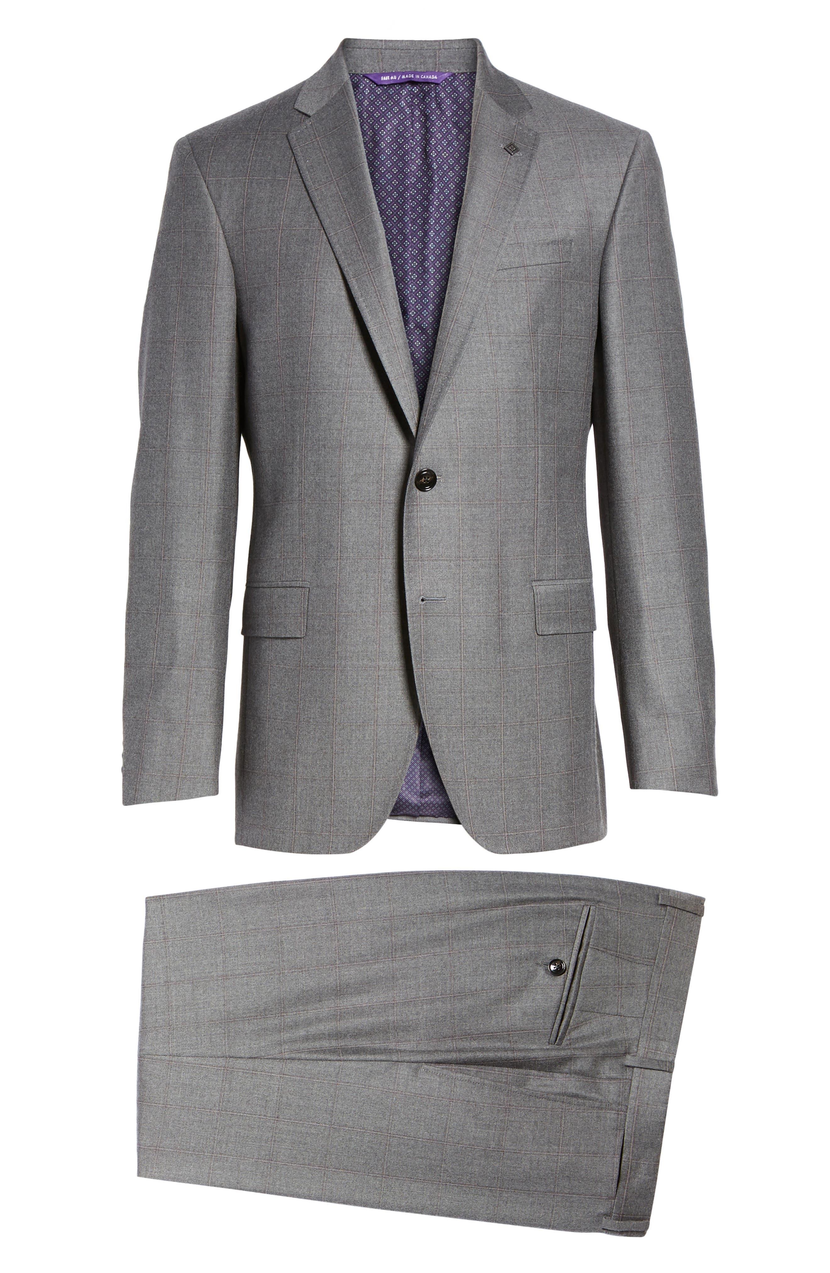 Alternate Image 8  - Ted Baker London Trim Fit Windowpane Wool Suit