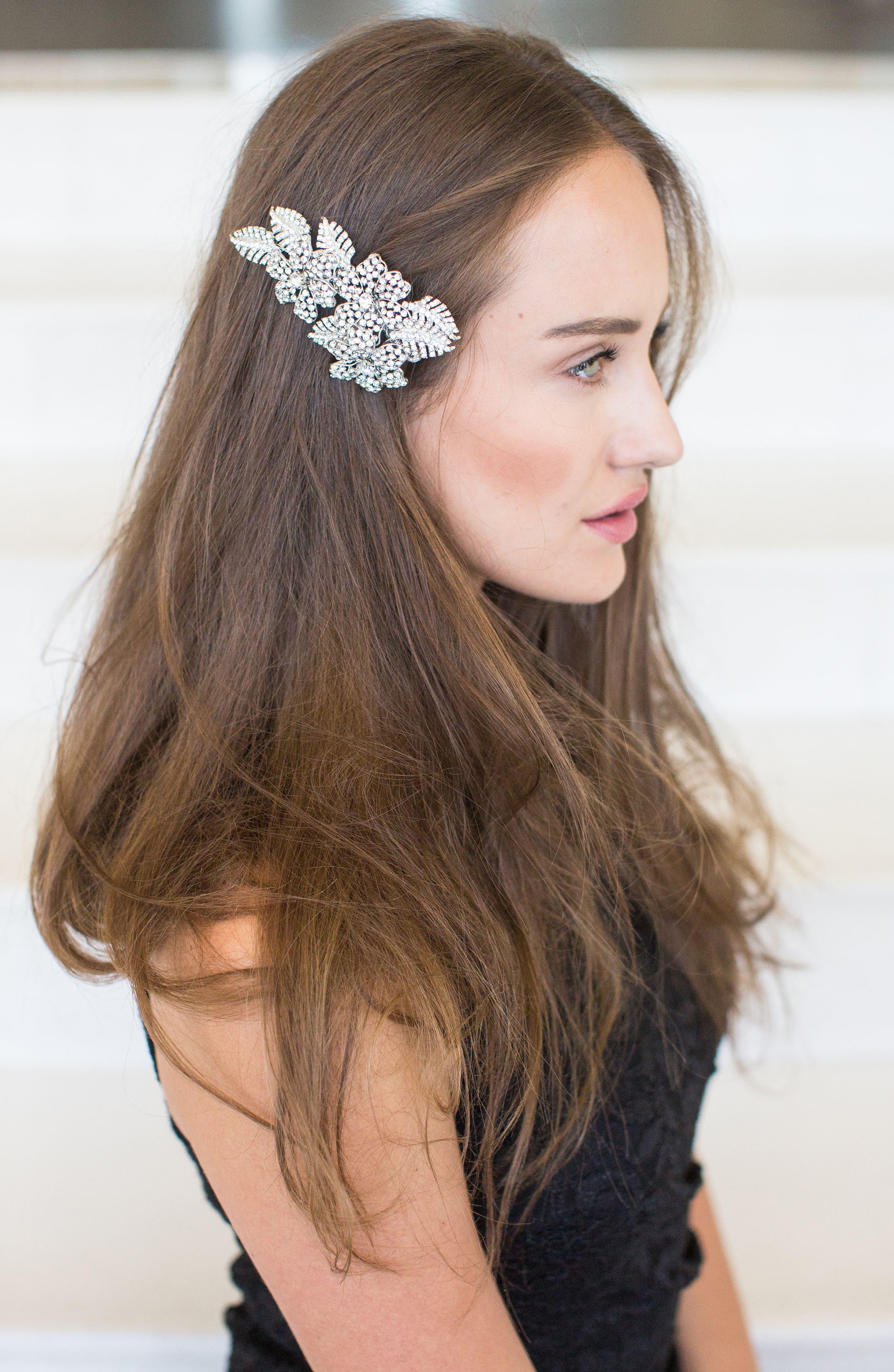 'Esther' Crystal Embellished Hair Clip,                             Alternate thumbnail 2, color,                             Champagne Gold