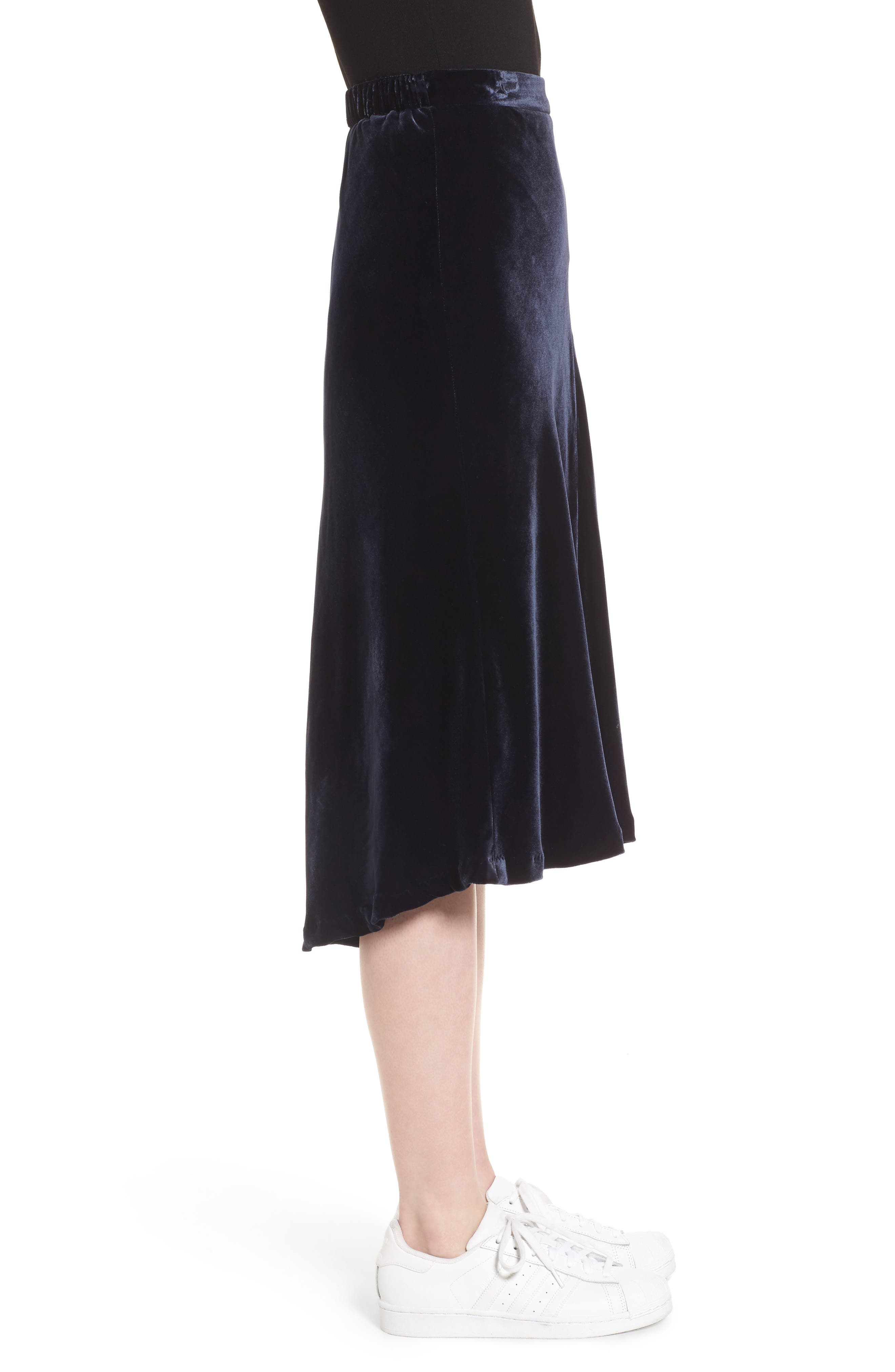 High/Low Velvet Skirt,                             Alternate thumbnail 5, color,                             Navy Night