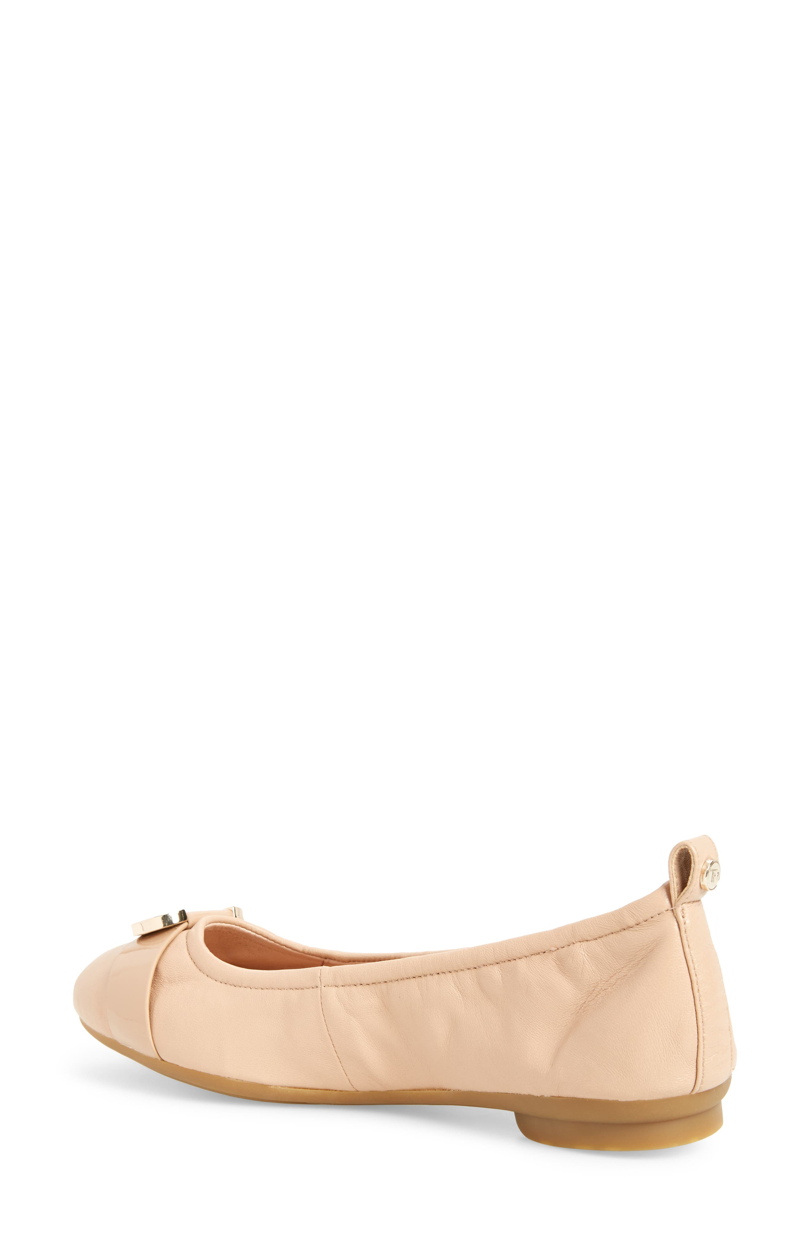 Abriana Ballet Flat,                             Alternate thumbnail 5, color,                             Nude Leather