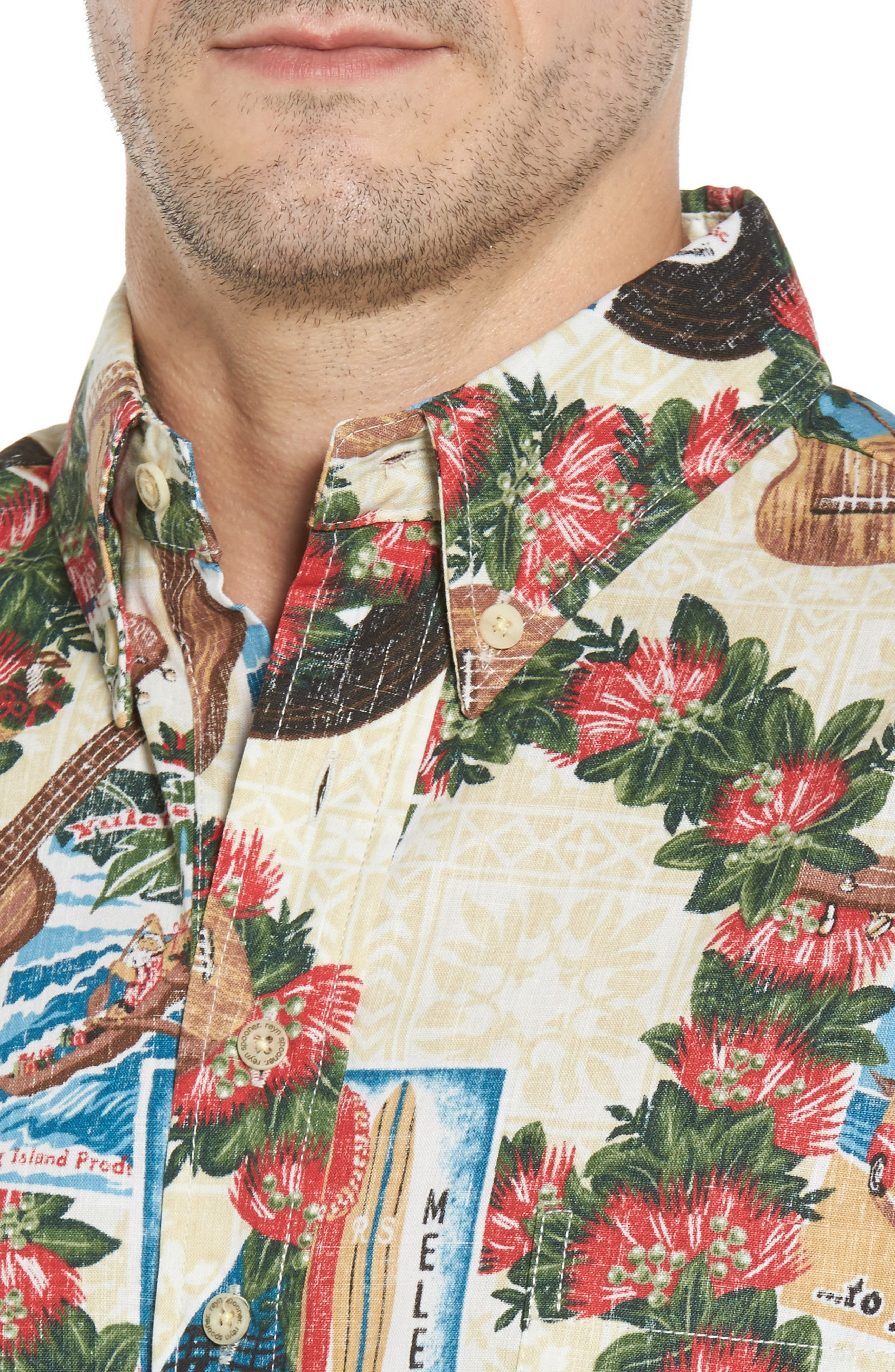 Hawaiian Christmas 2017 Sport Shirt,                             Alternate thumbnail 4, color,                             Natural