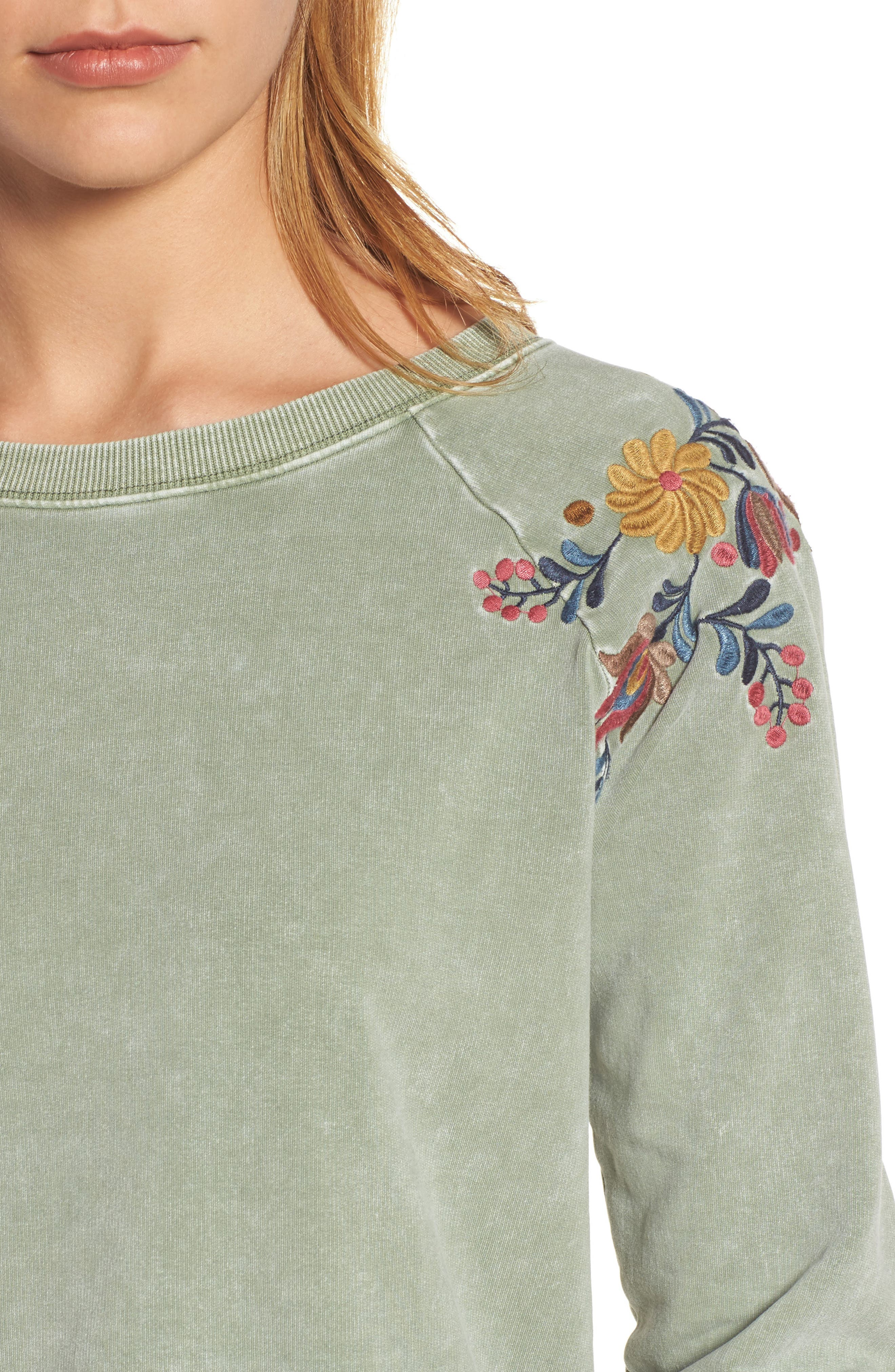 Embroidered Lace-Up Back Sweatshirt,                             Alternate thumbnail 4, color,                             Army