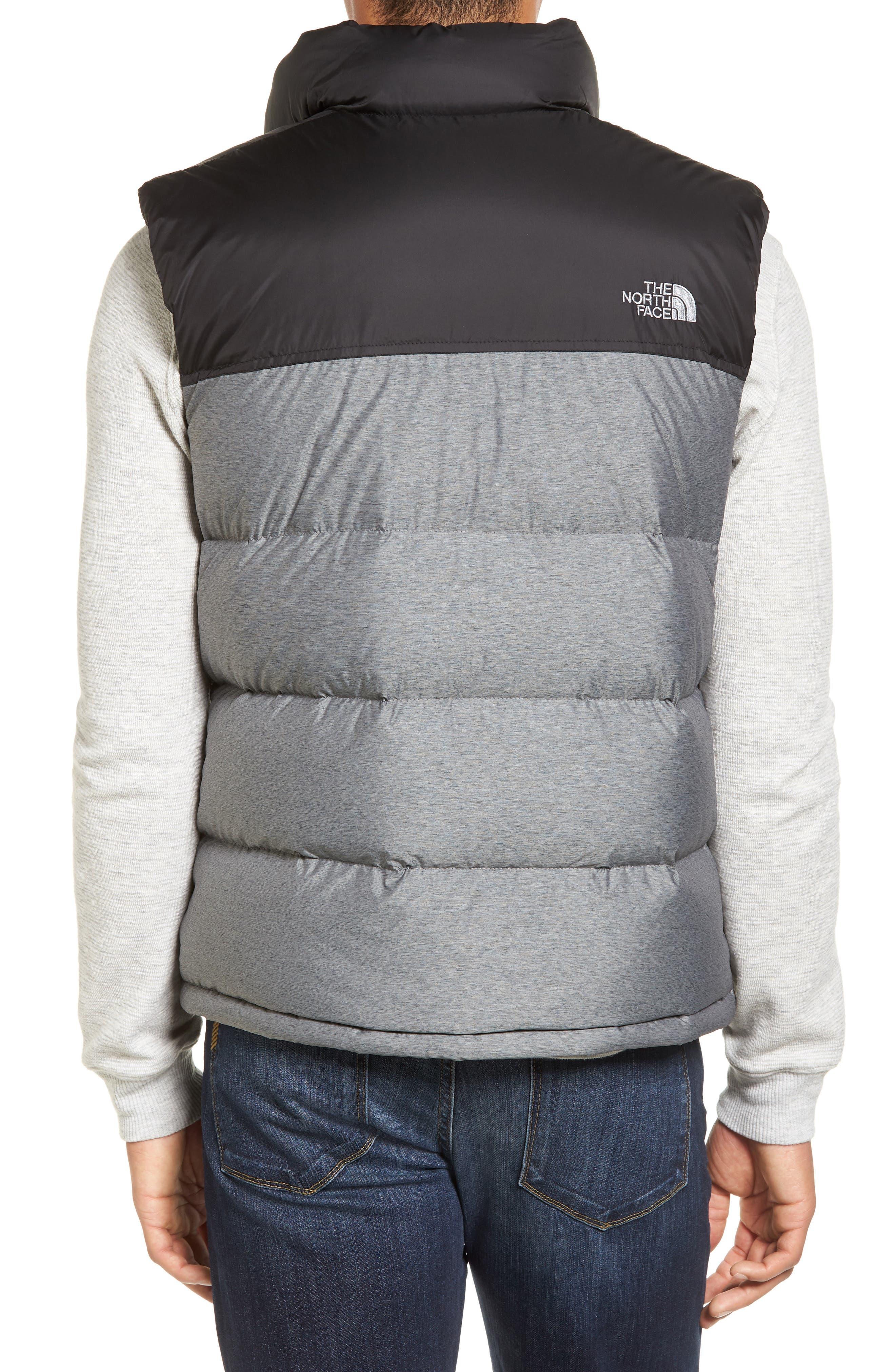 Nuptse Water Repellent Down Vest,                             Alternate thumbnail 2, color,                             Medium Grey Heather/ Black