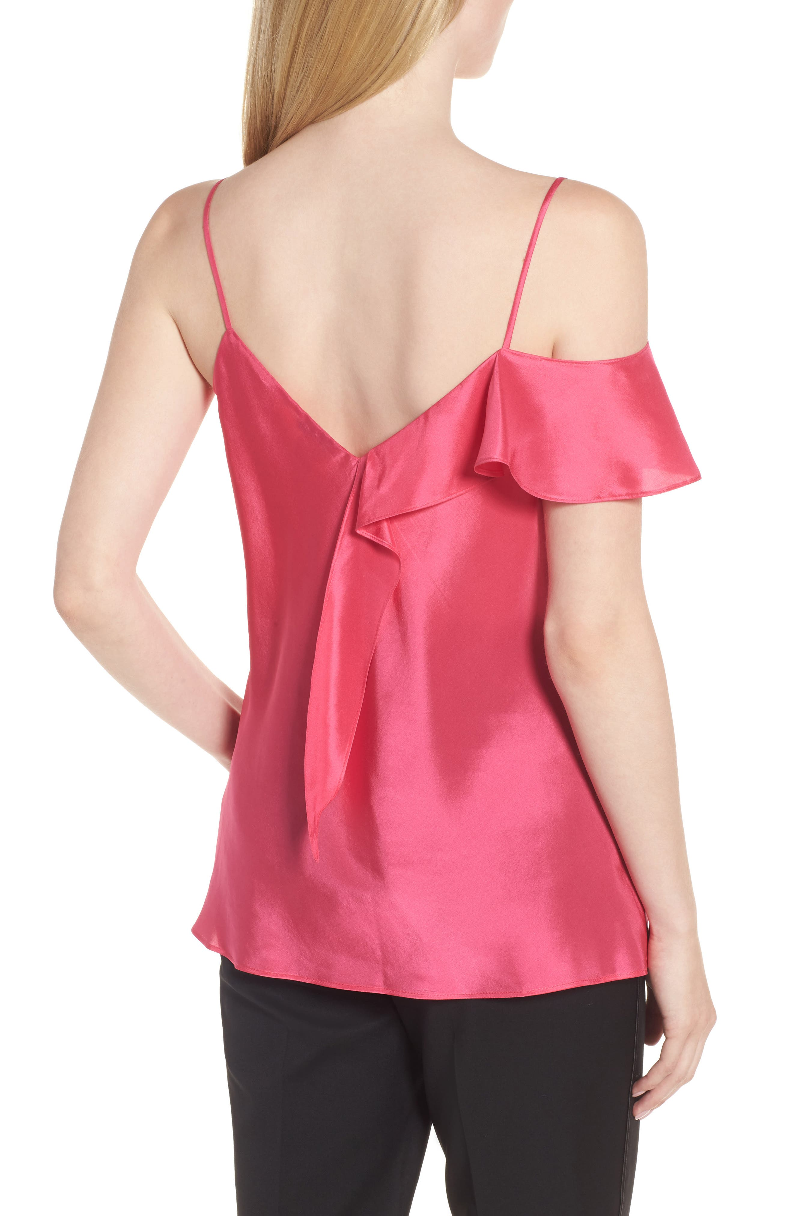 Ruffle Silk Camisole,                             Alternate thumbnail 2, color,                             Pink Rouge