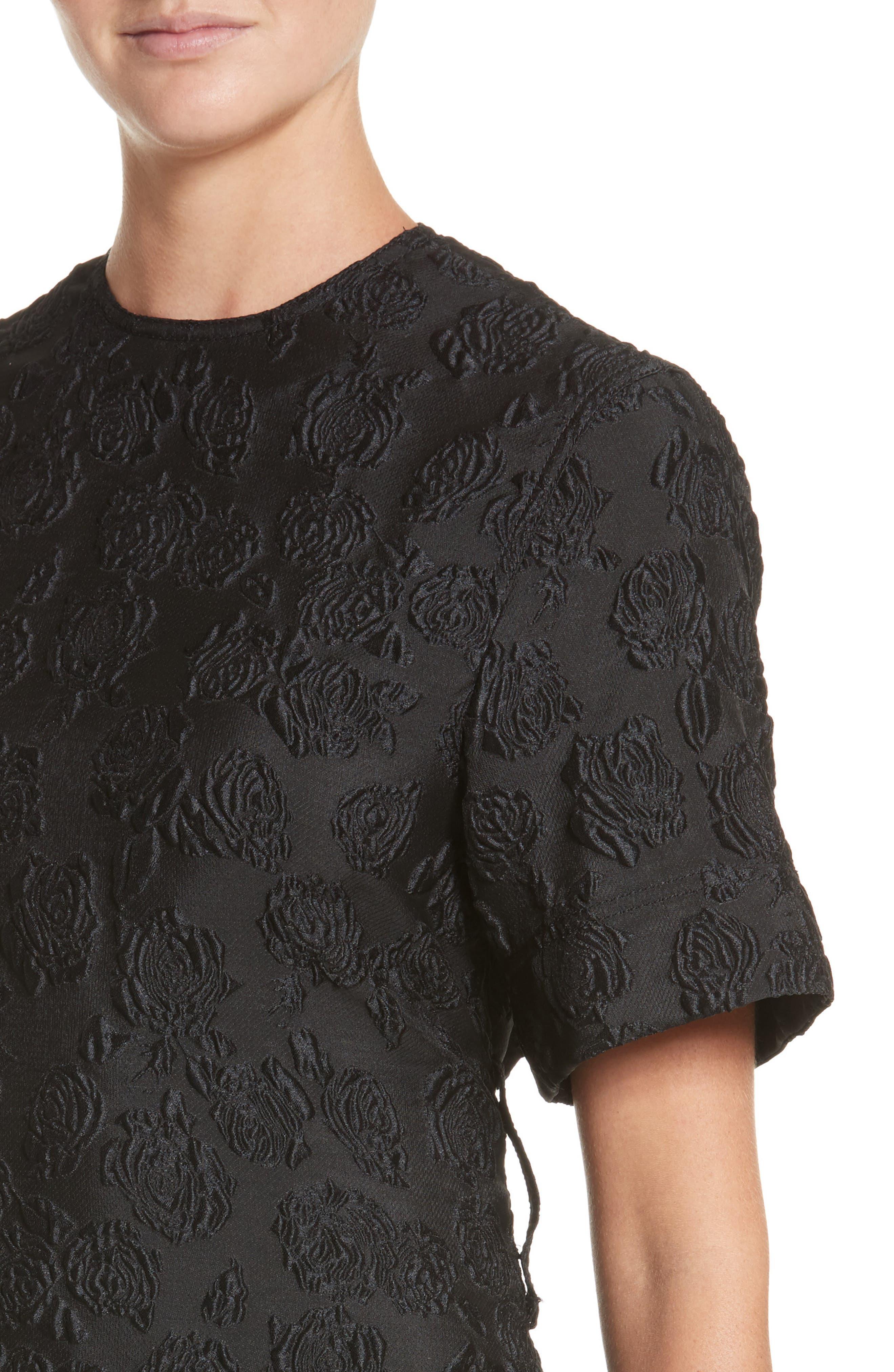 Rose Jacquard Dress,                             Alternate thumbnail 4, color,                             Black