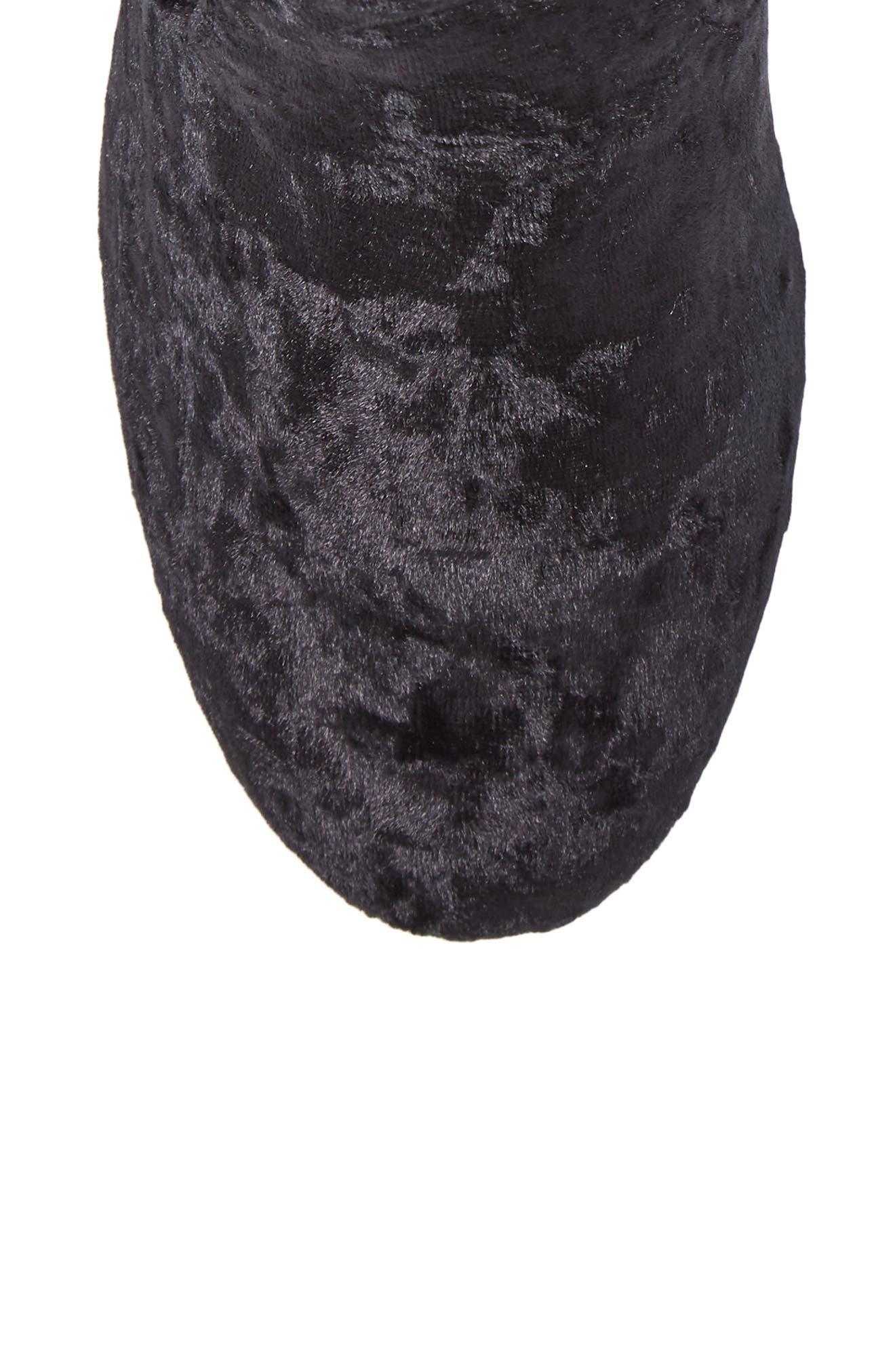Eclipse Velvet Sock Bootie,                             Alternate thumbnail 5, color,                             Black