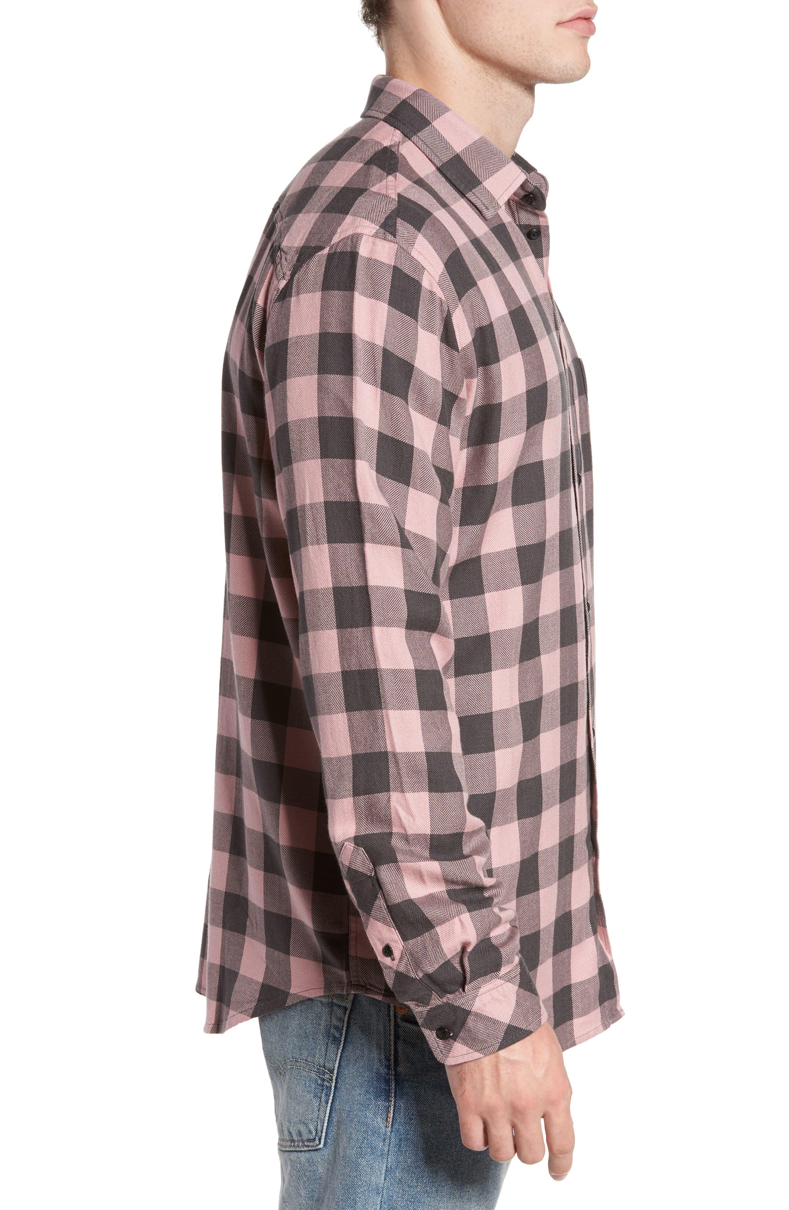 Lennox Sport Shirt,                             Alternate thumbnail 3, color,                             Pale Pink/ Charcoal