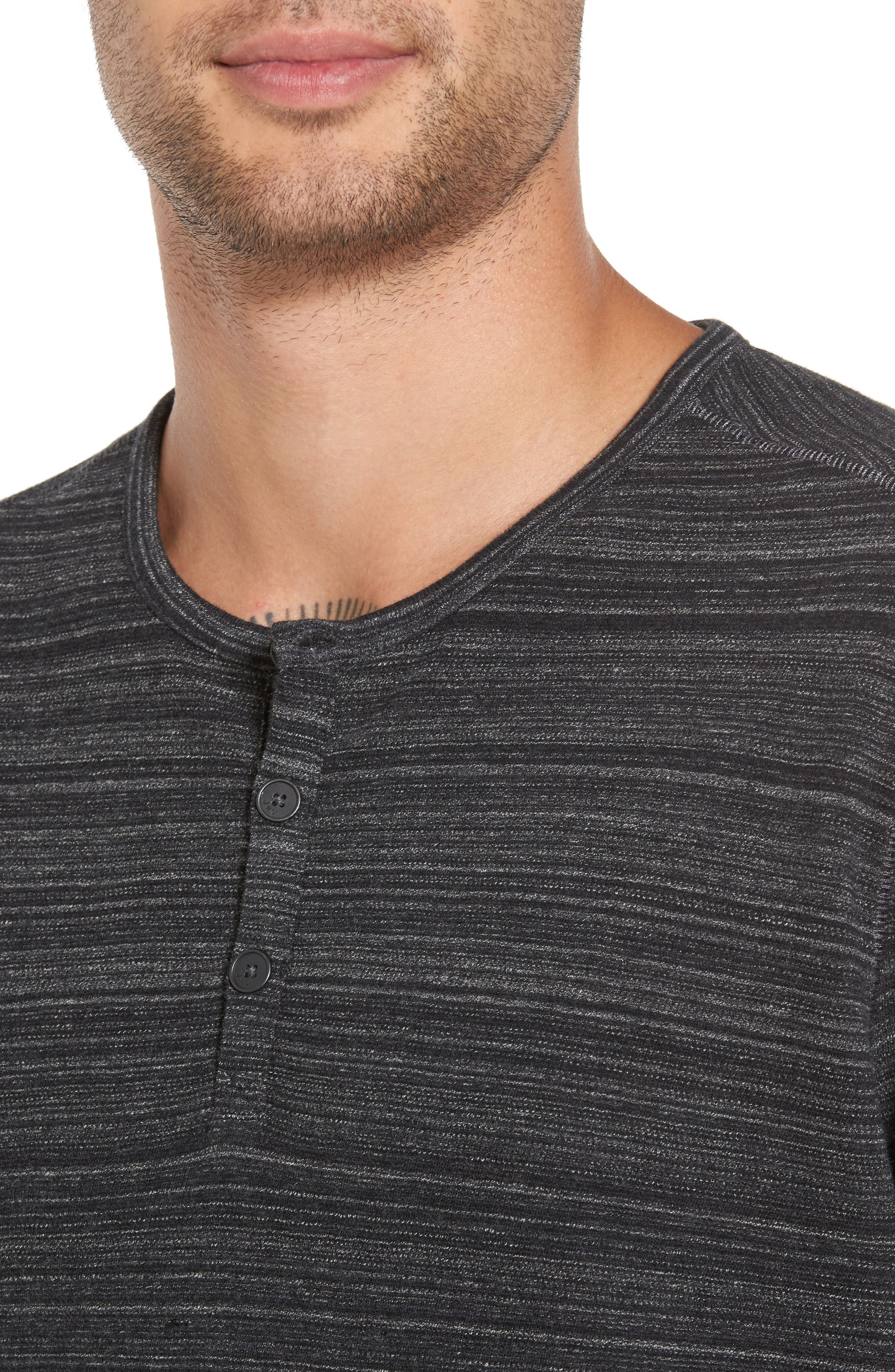 Vertical Pickstitch Henley,                             Alternate thumbnail 4, color,                             Black