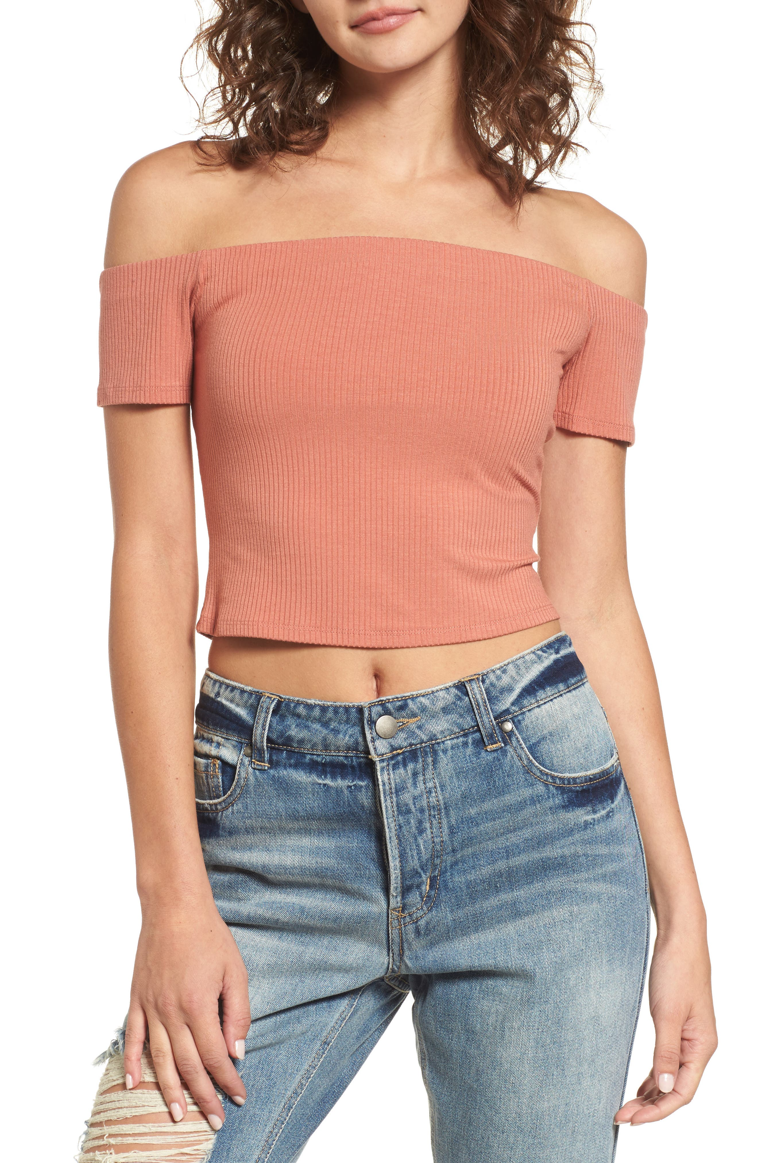 Frankie Off the Shoulder Top,                             Main thumbnail 1, color,                             Amber