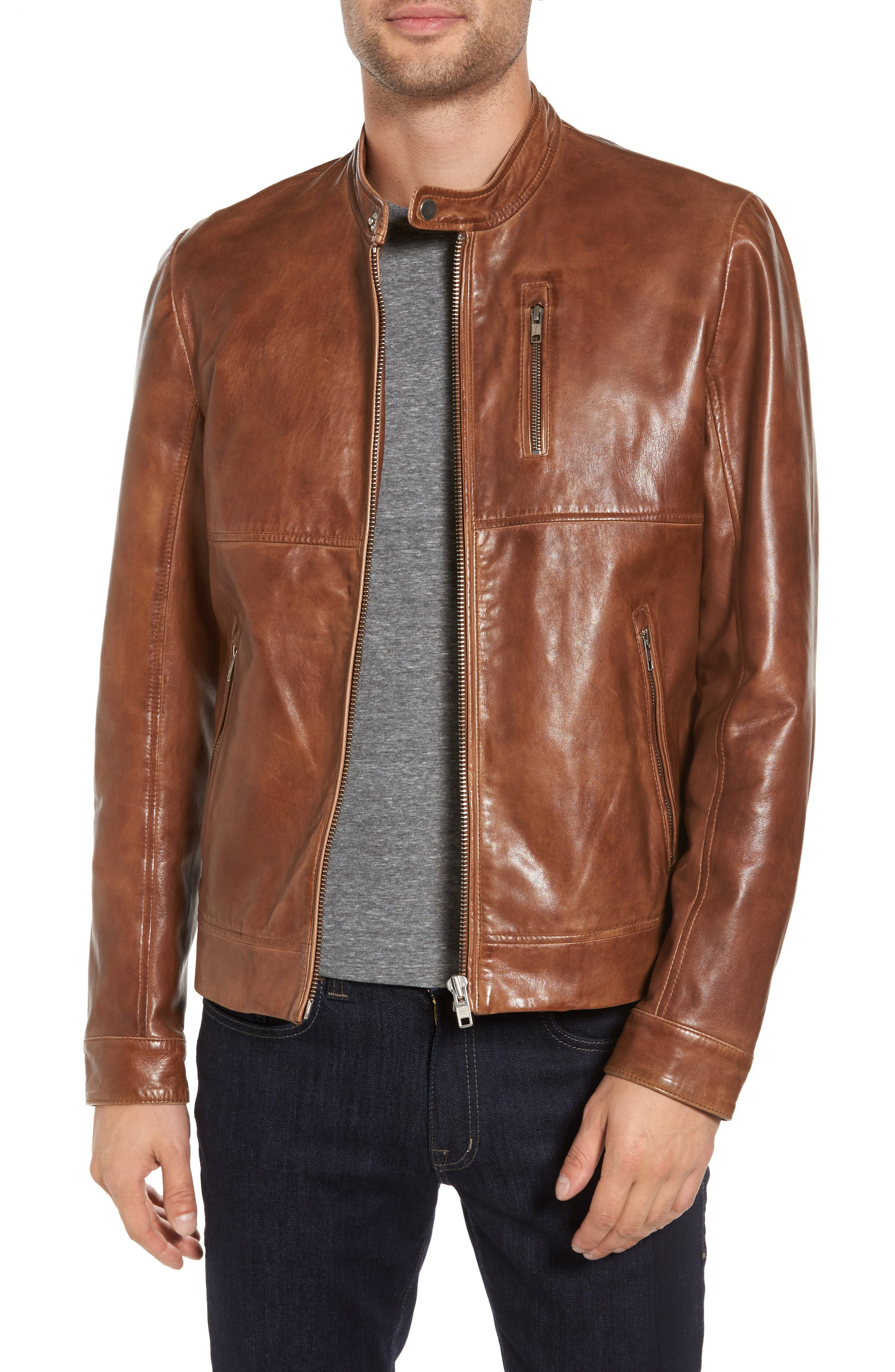 Leather Moto Jacket with Removable Hood,                             Alternate thumbnail 3, color,                             Luggage Brown