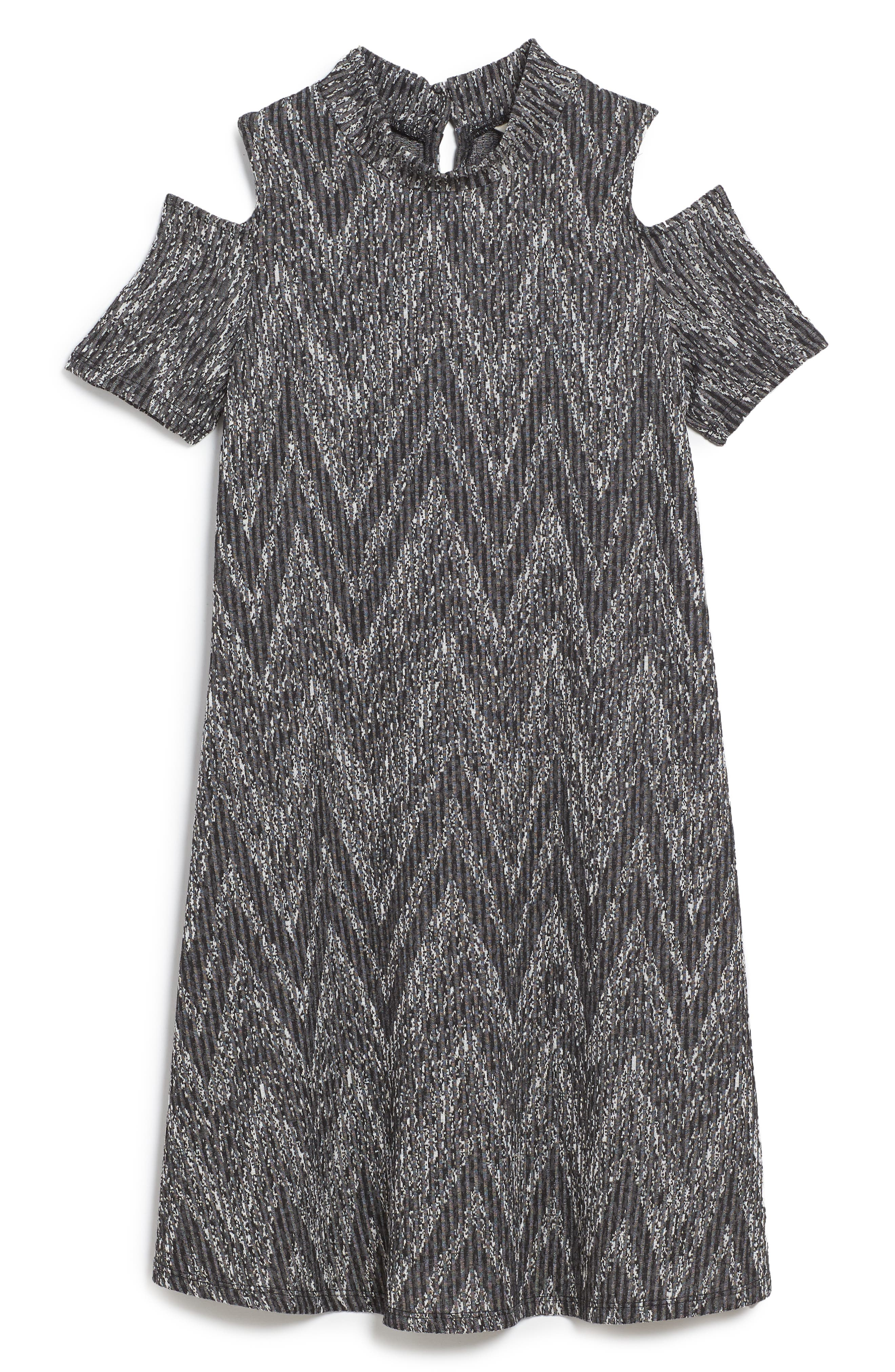 Rib Knit Cold Shoulder Dress,                         Main,                         color, Grey