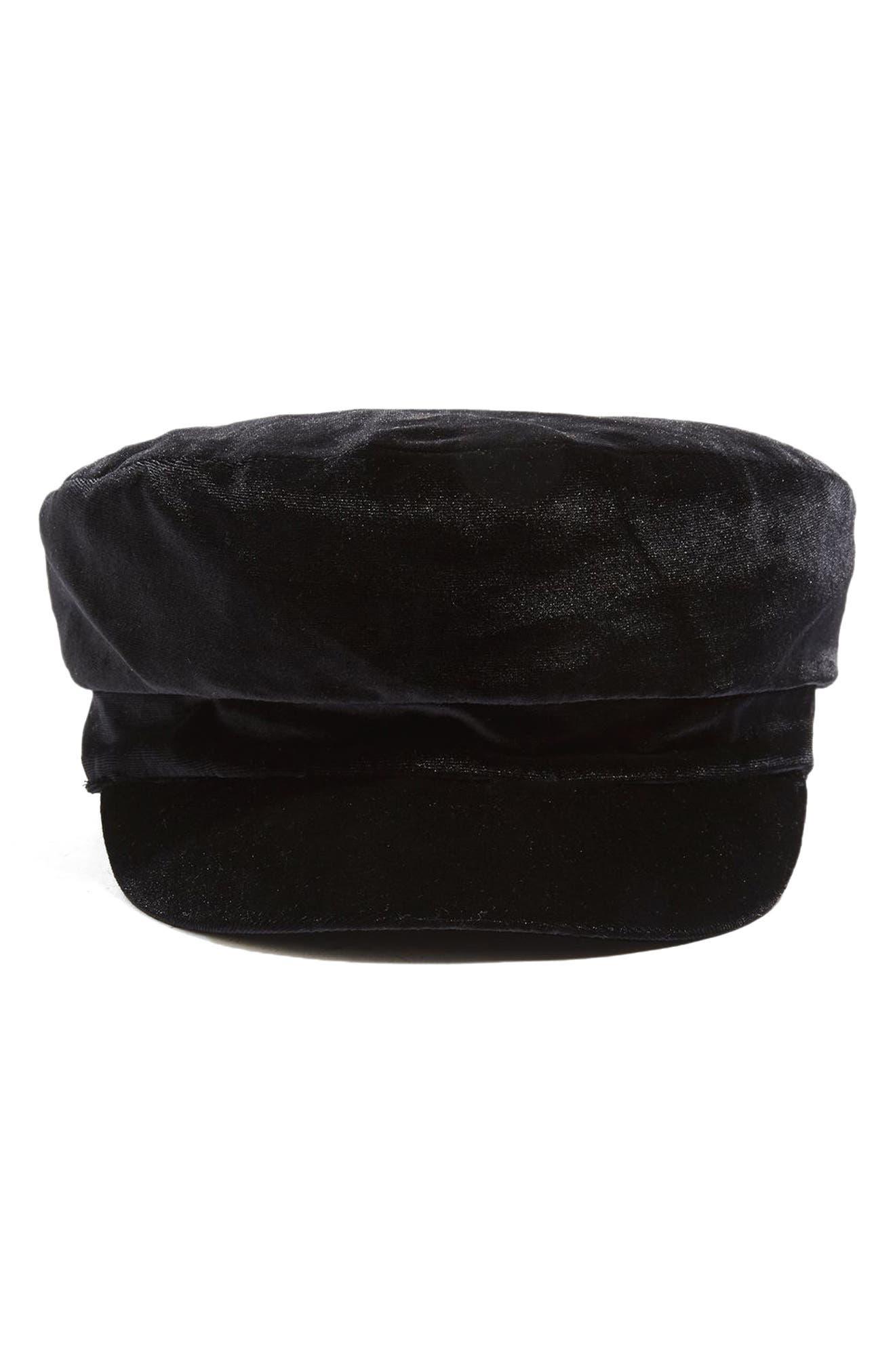Velvet Baker Hat,                             Alternate thumbnail 2, color,                             Black
