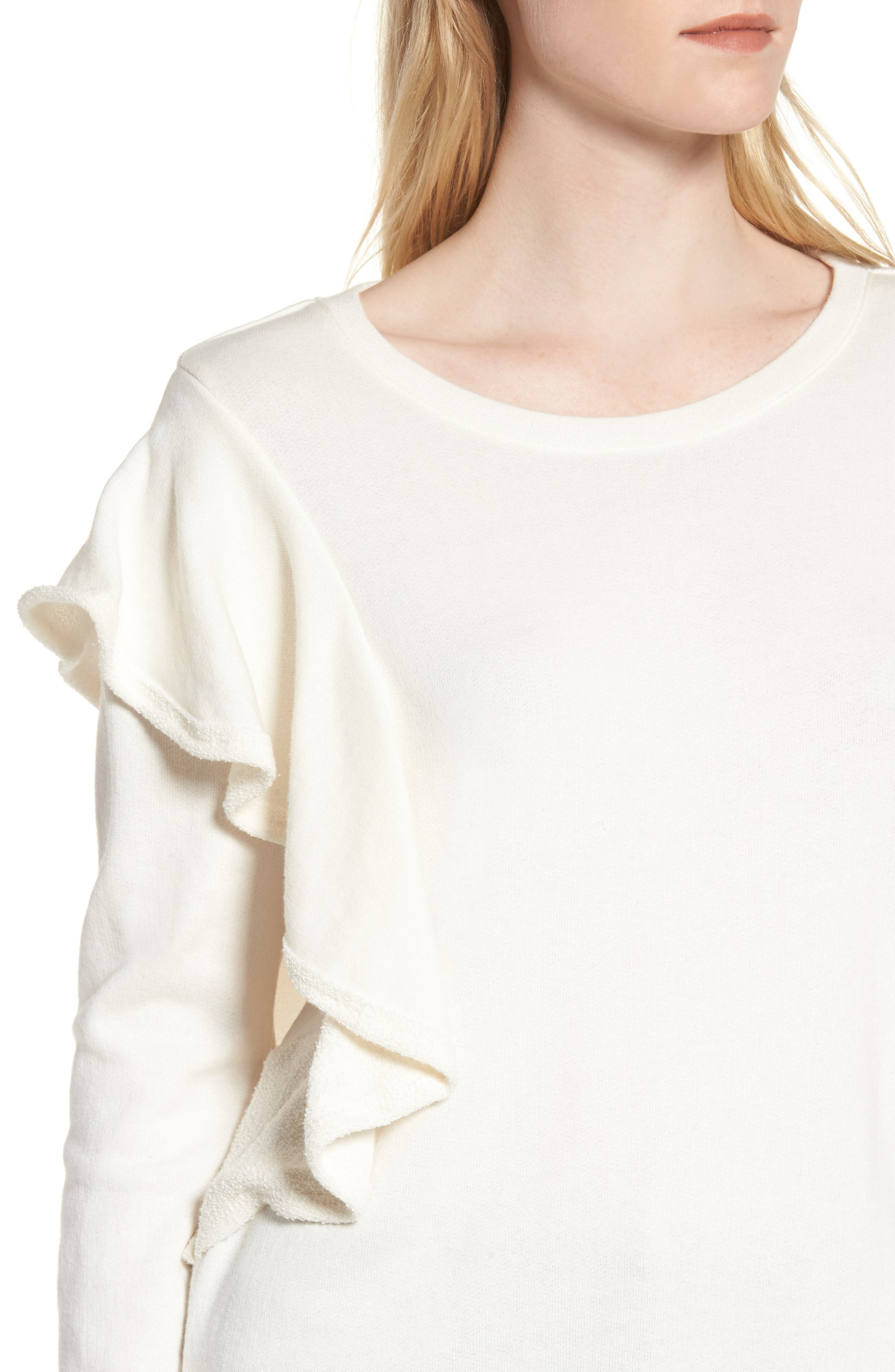 West Fourth Ruffle Sweatshirt,                             Alternate thumbnail 4, color,                             Off White