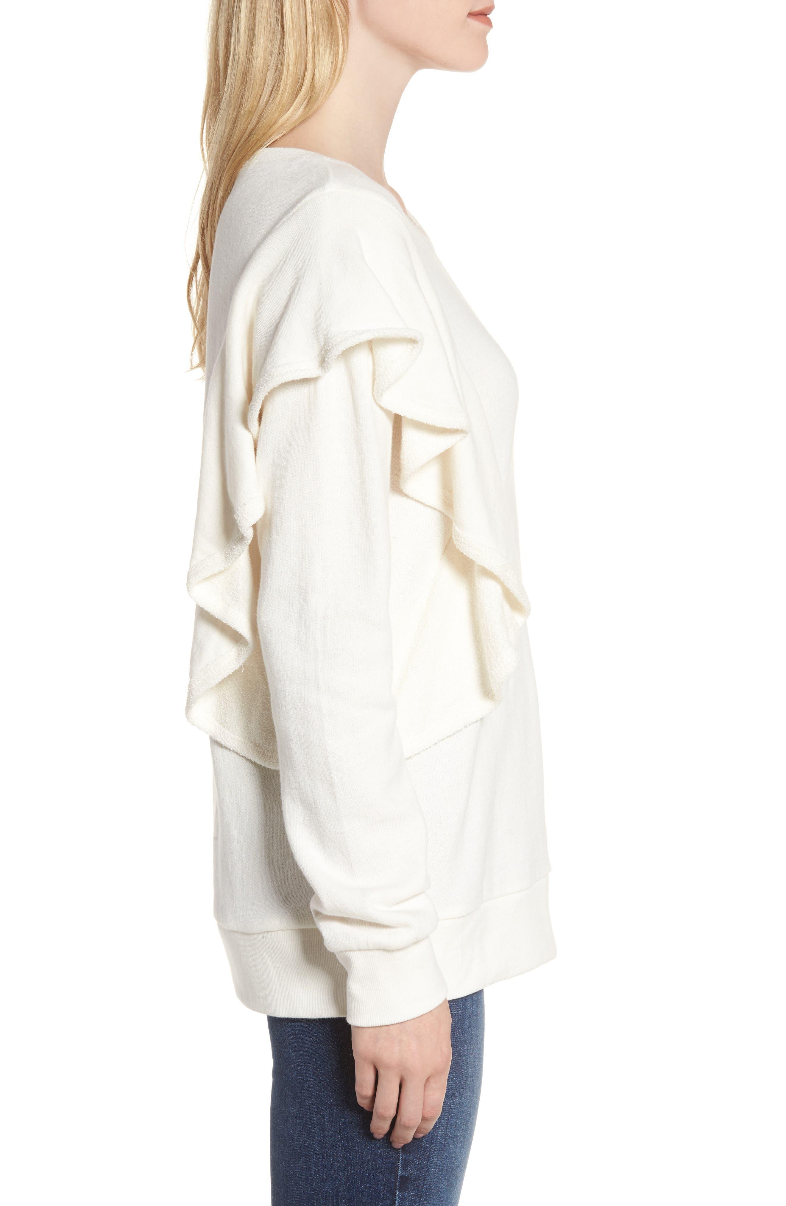 West Fourth Ruffle Sweatshirt,                             Alternate thumbnail 3, color,                             Off White
