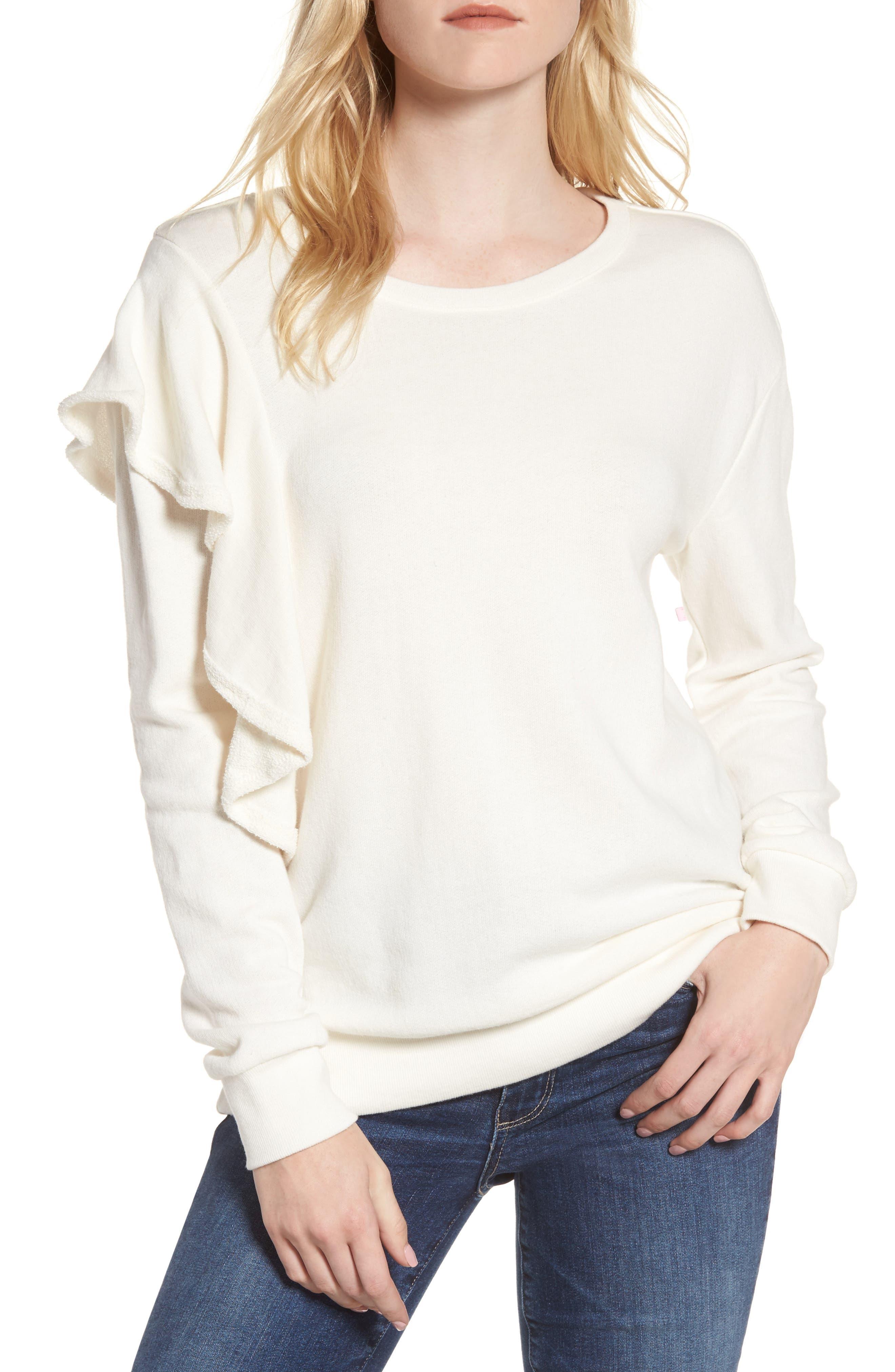 West Fourth Ruffle Sweatshirt,                             Main thumbnail 1, color,                             Off White
