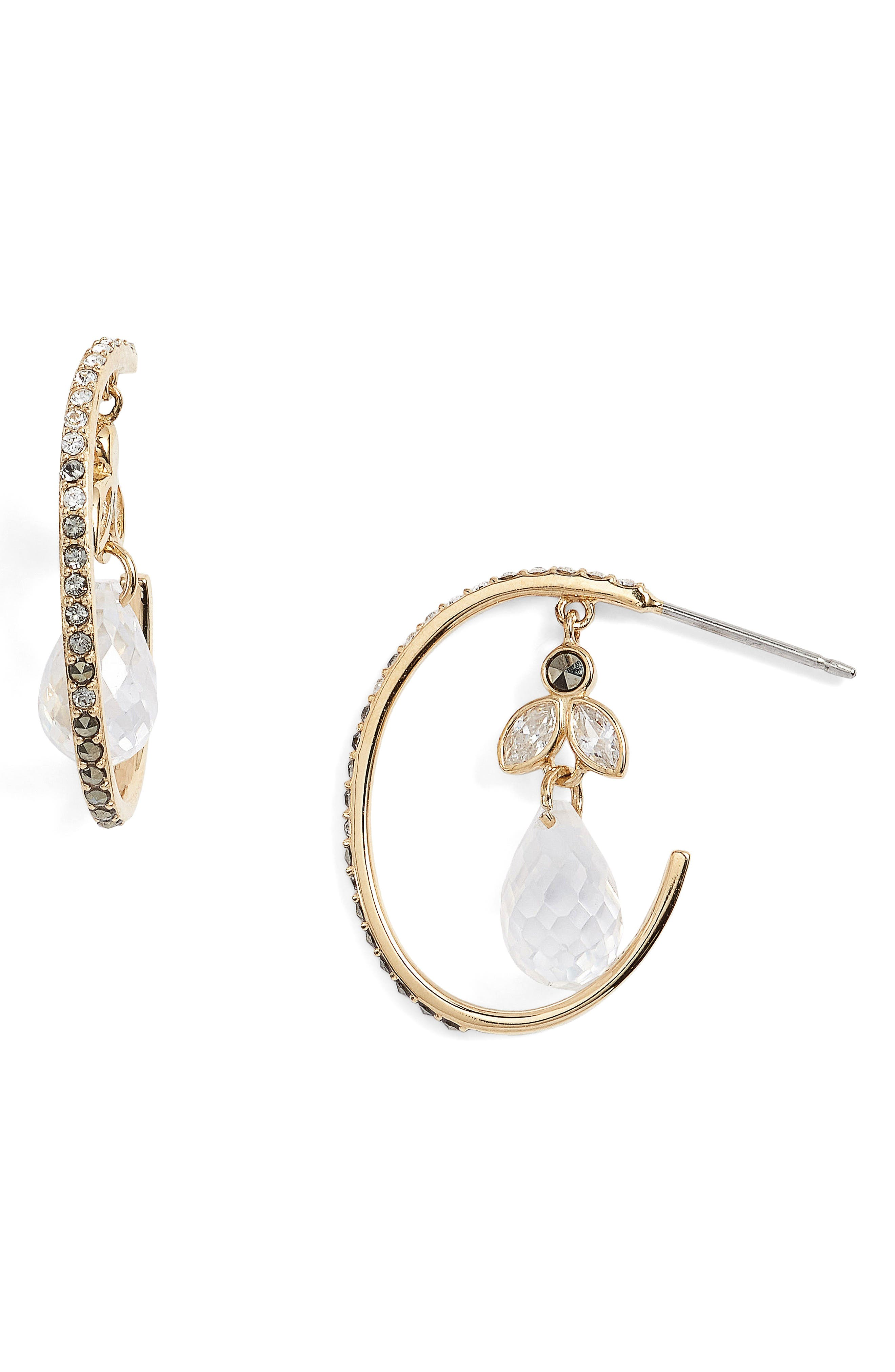 Main Image - Judith Jack Crystal Hoop Earrings