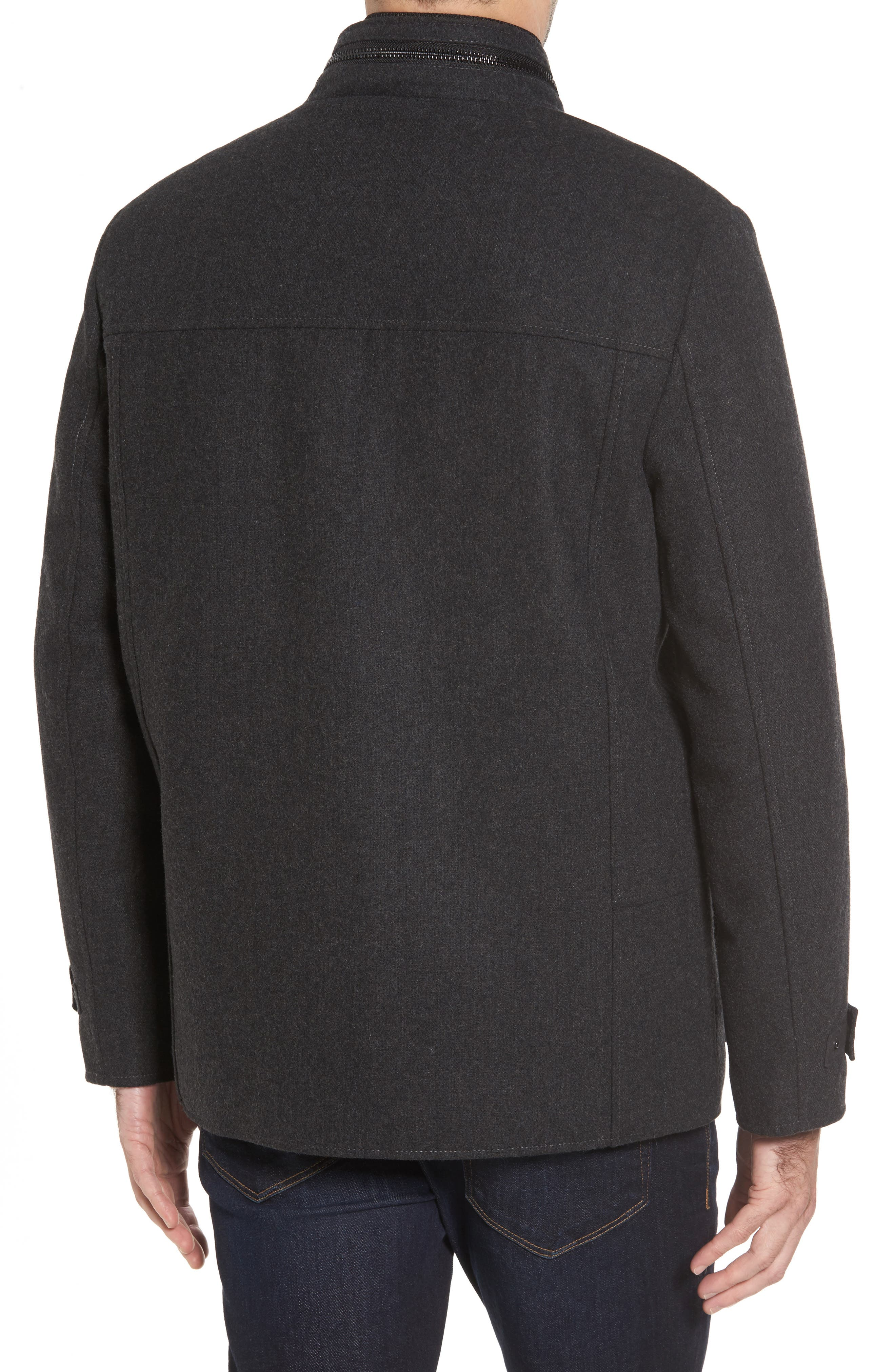 Button Front Coat,                             Alternate thumbnail 2, color,                             Charcoal