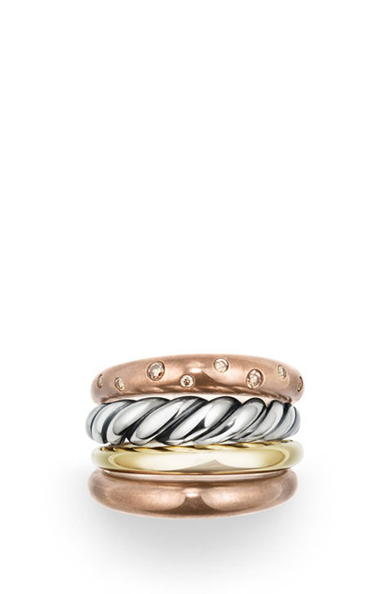 Pure Form Mixed Metal Four-Row Ring with Diamonds, Bronze & Silver, 17.5mm,                             Alternate thumbnail 2, color,                             Cognac