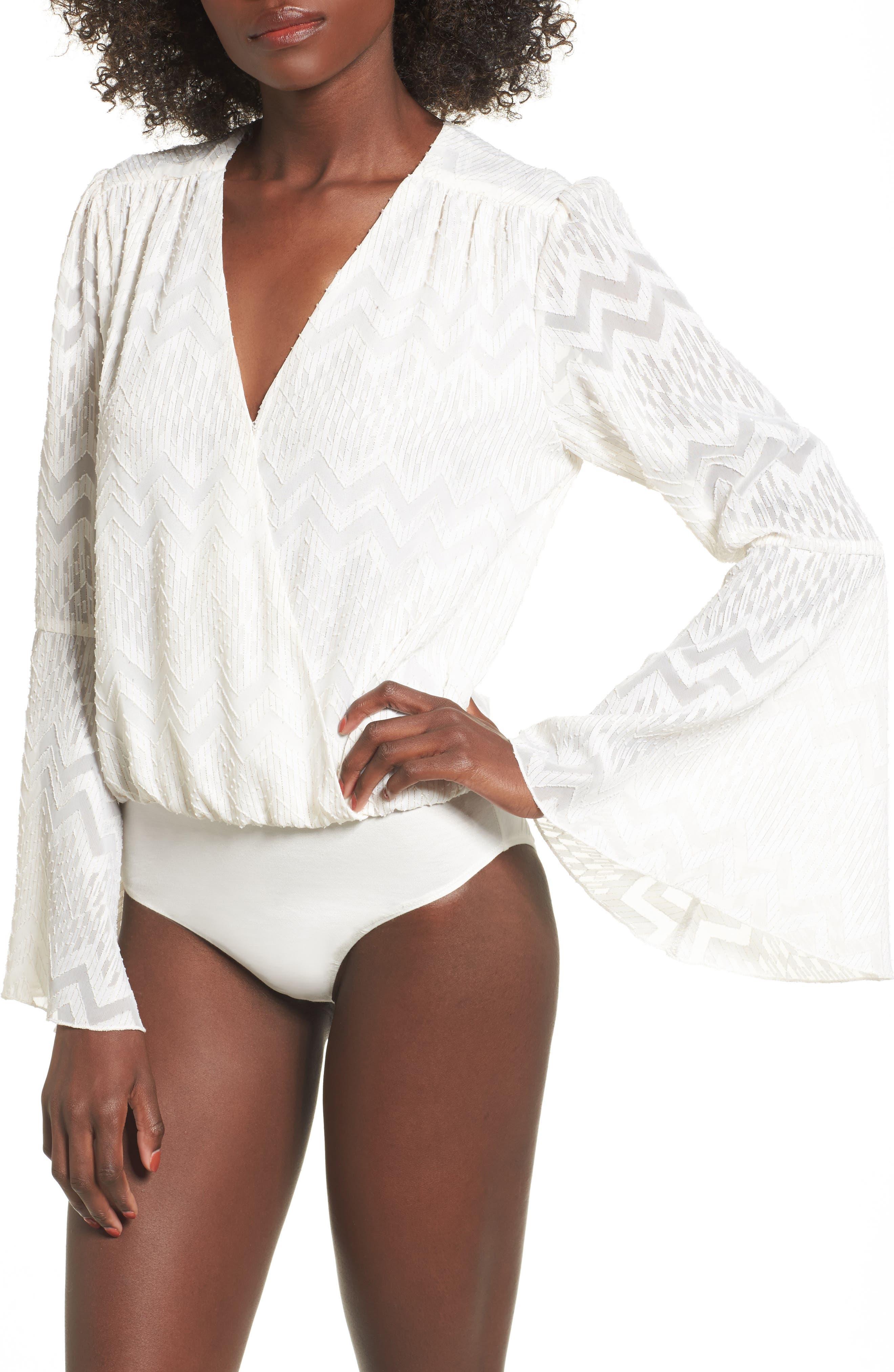 Christi Bell Sleeve Bodysuit,                             Alternate thumbnail 4, color,                             Ivory Clip